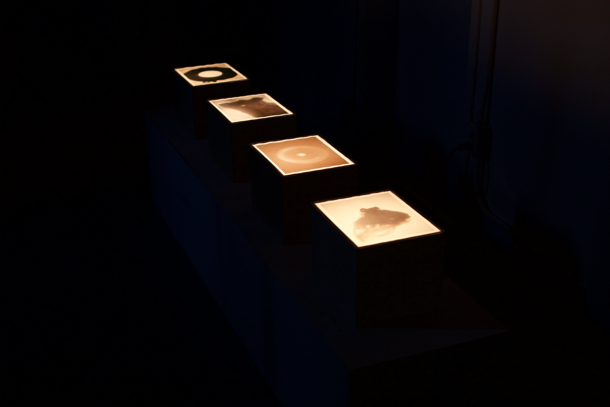 Vellum prints placed under Plexiglas sheets and lit by a soft incandescent bulb placed in the interior of each box. Boxes are made of plywood.