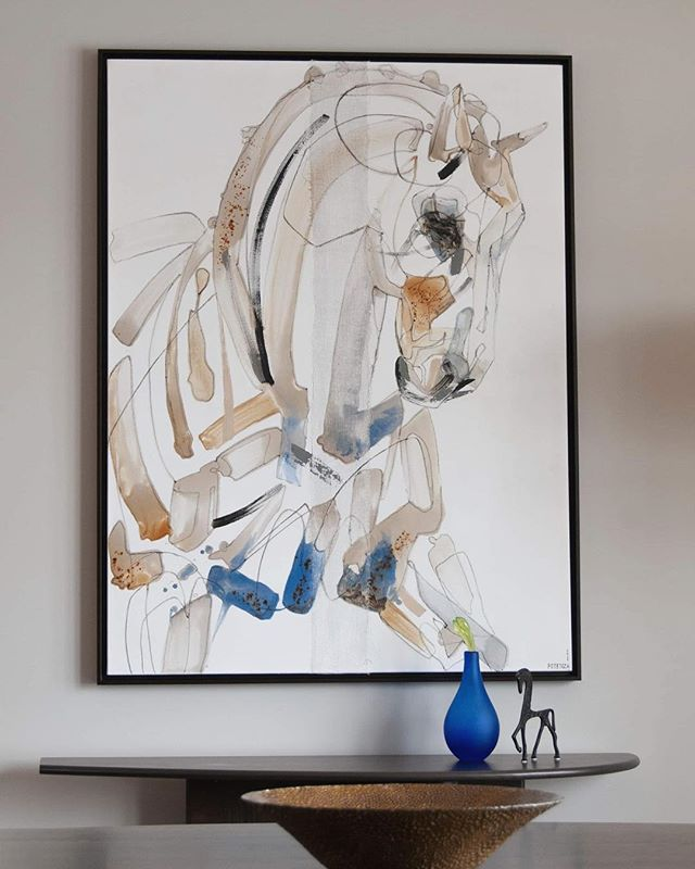 """Concord"" in his lovely new forever home ♥️ . . . . .  #art #collectart #equestrian #equineart #canadianart #horse #dressage #blue #neutrapalette #design #decor #interiordesign #canadianart #painting"