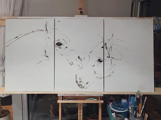 Love birds in progress ♥️ #commissionedart . . . . .  #art #collectart #equestrian #equineart #canadianart #horse #dressage #blue #neutrapalette #design #decor #interiordesign #canadianart #painting