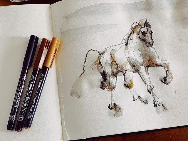 Thankful for friends who gift the coolest tools @julialMaria 67 🖌  Having fun exploring with these while the my Special K sleeps 💤 Feels so good to create . . . . #equineart #sketch #colouringbrushpen #koi #ink #horse #horseart #equestrian #dressage #canadianartist #drawing #warmup #mixedmedia #showjumping #