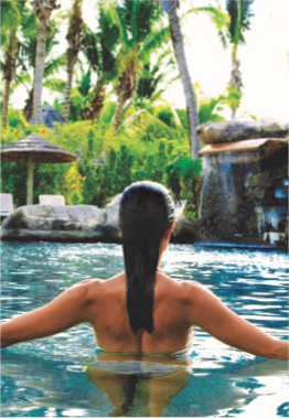 """INDULGE SPA AT GALLEY BAY    Set in a luxurious tree-house overlooking a bird sanctuary lagoon, this beautiful spa offers indoors air-conditioned treatment rooms, outdoors treatment """"pods"""" as well as a plunge pool, in naturally beautiful, peaceful and soothing settings."""
