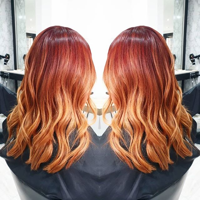 @daisydixon_15 colour by khanh  Balayage. Root Stretch. . . . @maisalonuk #balayage #rootstretch #colourblend #summerhair #redhair #orangehair #redhead #hair #haircut #colourmehappy #haircolouring #happycolours #maisalonuk #machestercitysalon #manchestersalon #manchesterhair