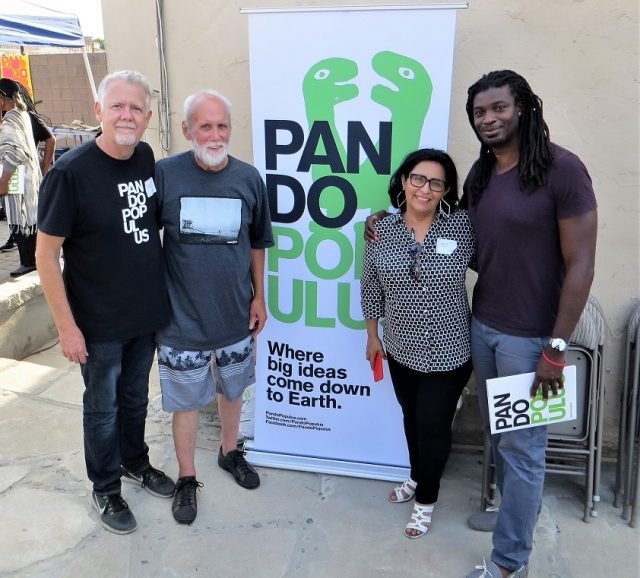 Organizers of the Pando Populus Conference included (l to right): Eugene Shirley, president, Pando Populus, Wayne Fishback, retired L.A. architect, Marcela Oliva, professor of Architecture at Los Angeles Trade-Tech College, Jacmond Johnson, a graduate of LATTC