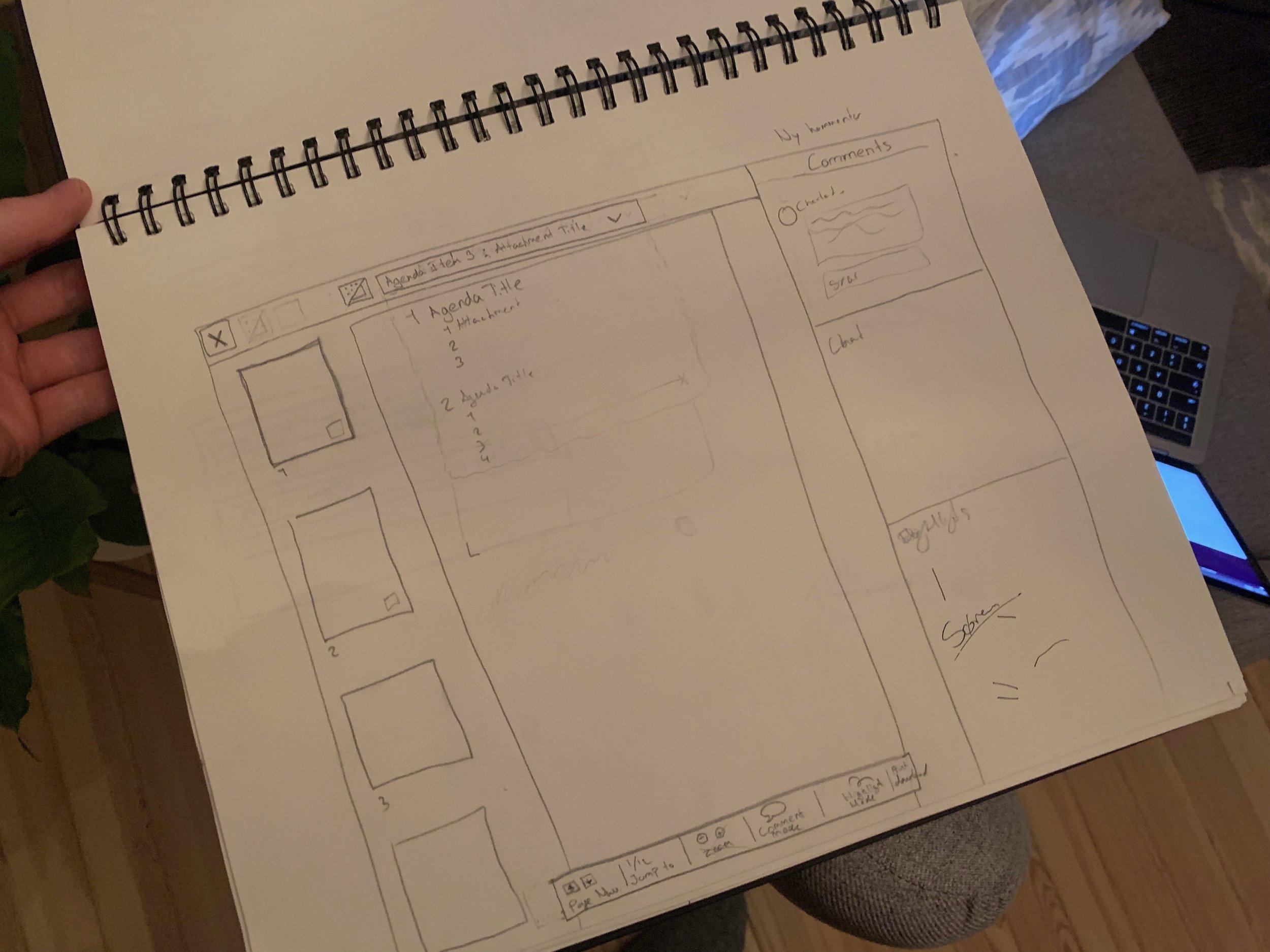Wireframe til vores document view med mulighed for at kommentere og highlighte. Det giver lige en fornemmelse af det hele inden jeg bygger det i Sketch. Og tager kun 5 min alligevel at lave i hånden.