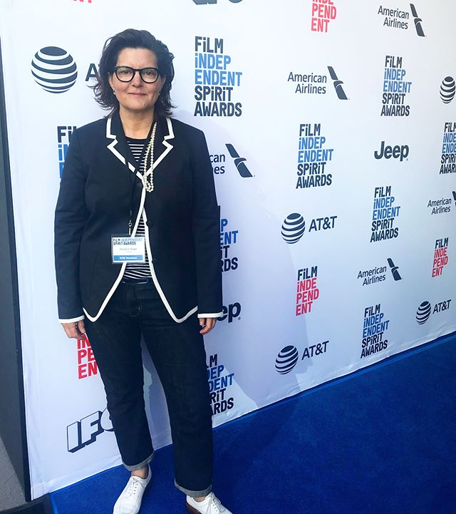 On the carpet this Saturday at the @filmindependent #SpiritAwards Nominee Brunch with editor @tsriegel who is nominated for her work on @itonyamovie! #TatianaSRiegel #ITonya #FilmEditing