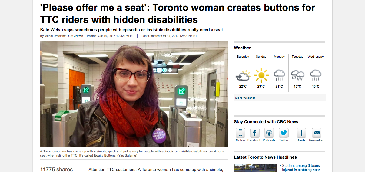 Please offer me a seat   Toronto woman creates buttons for TTC riders with hidden disabilities   Toronto   CBC News.png
