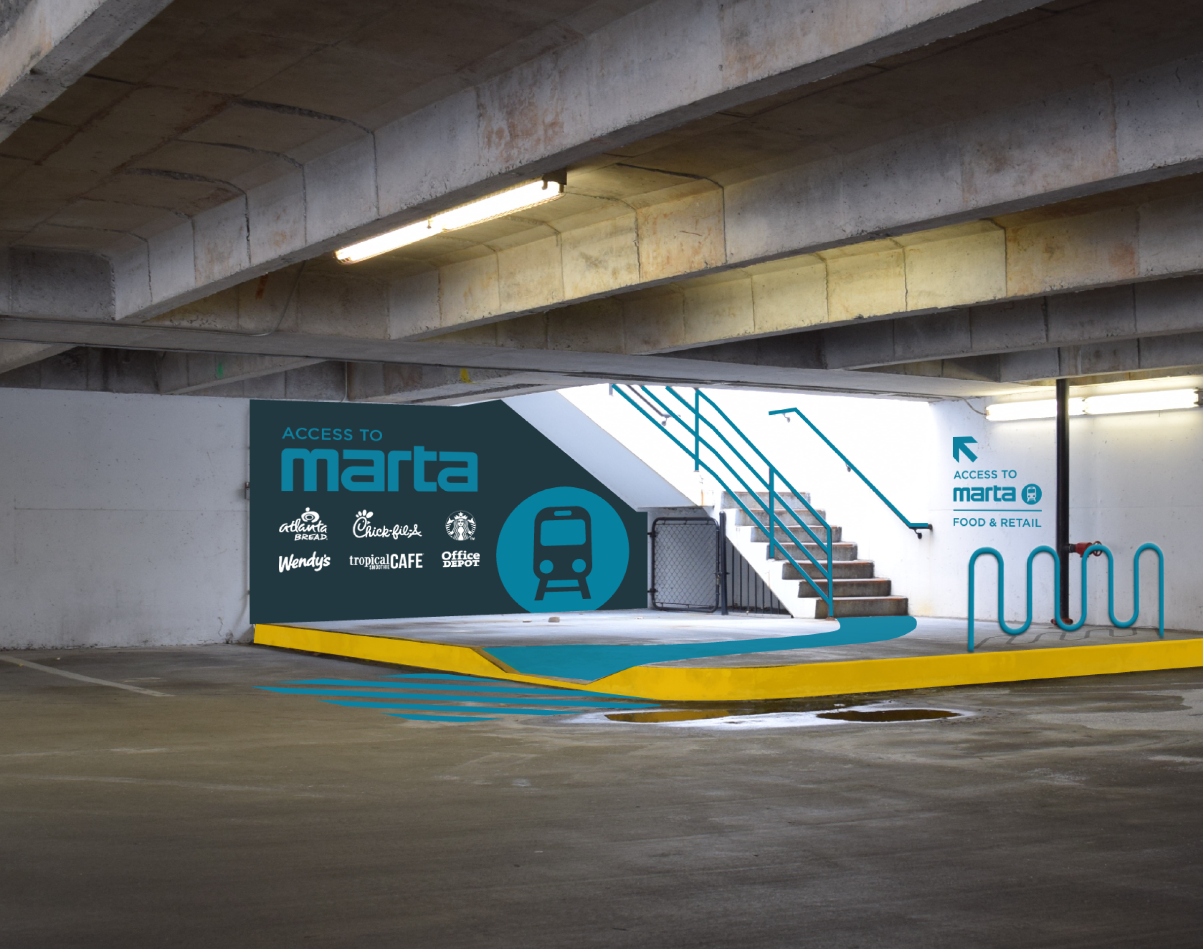 Walk-to MARTA Stairwell inside Garage