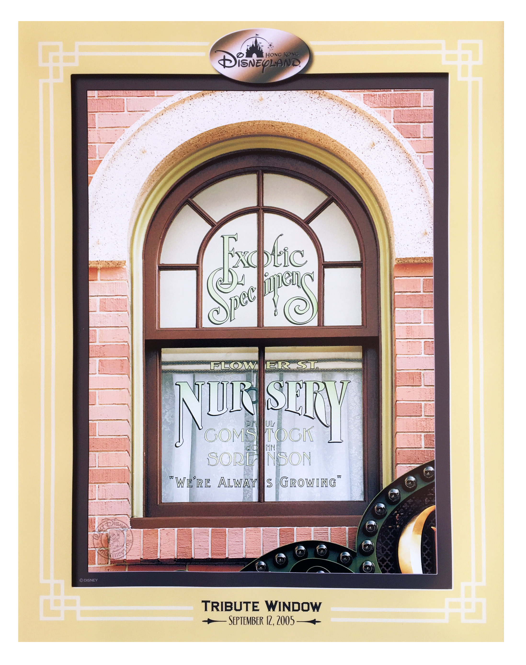 """The Walt Disney Company honored Comstock with a window on Main Street over the Curiosity Shop, proclaiming """" Landscape Specialists - we're always growing"""" ."""
