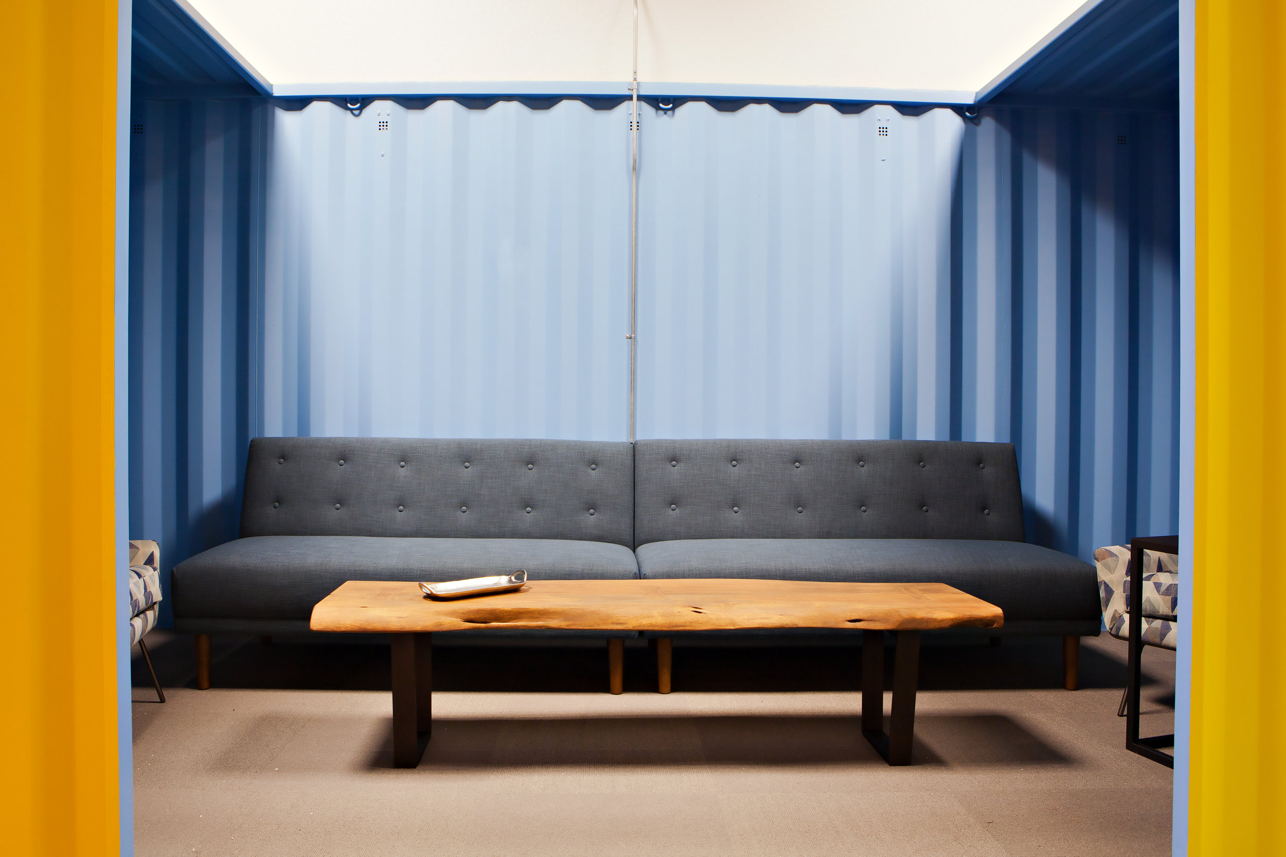 A shipping container turned lounge...