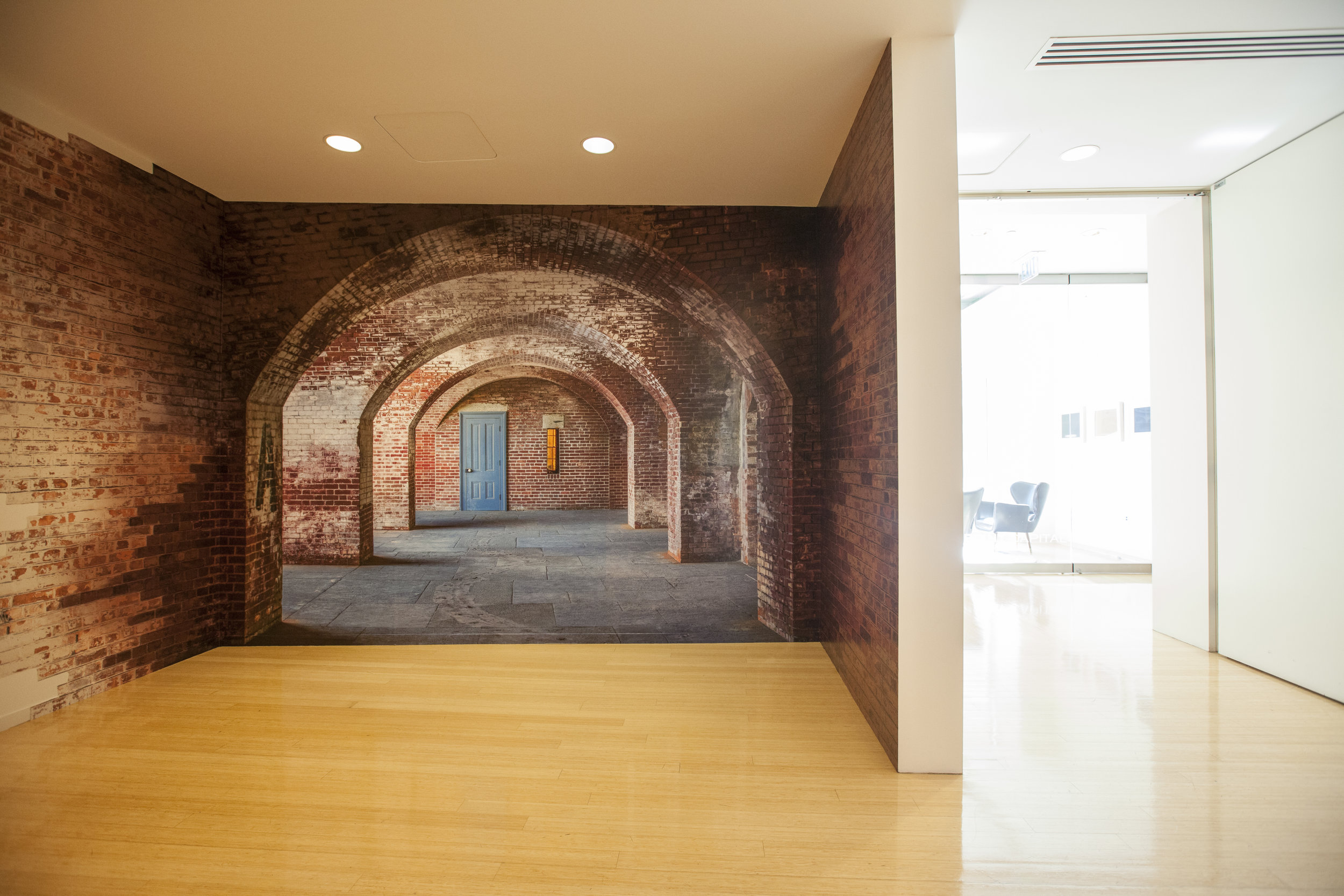 On first step out of the elevator it is clear this is no ordinary office. The photo wall wrap of the historic Fort Point in San Francisco gives this entry way a fun sence of depth while nodding to its name sake.