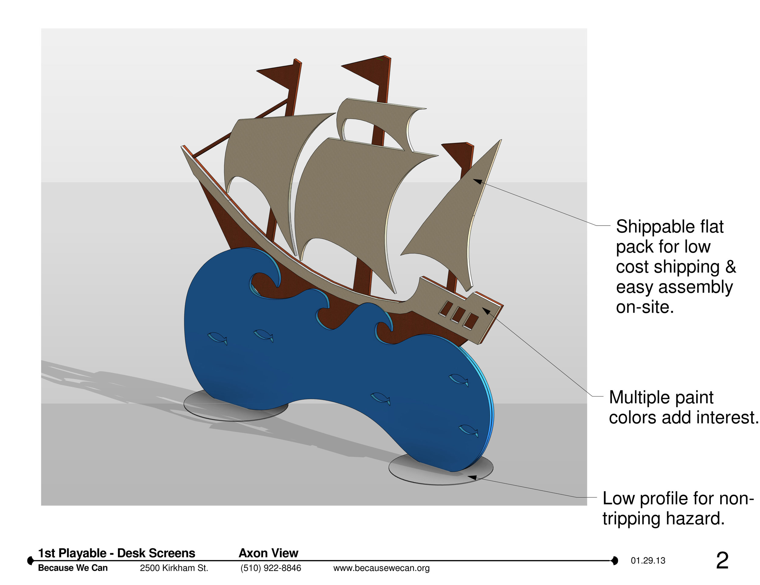 The design drawings for the ship dividers to relay the final concepts to the client.