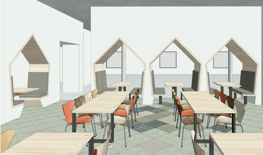 Downstairs, the kitchen and dining area are redesigned with booth seating. This fun and inviting look opens up the space and gives a line of sight to the windows for natural light.