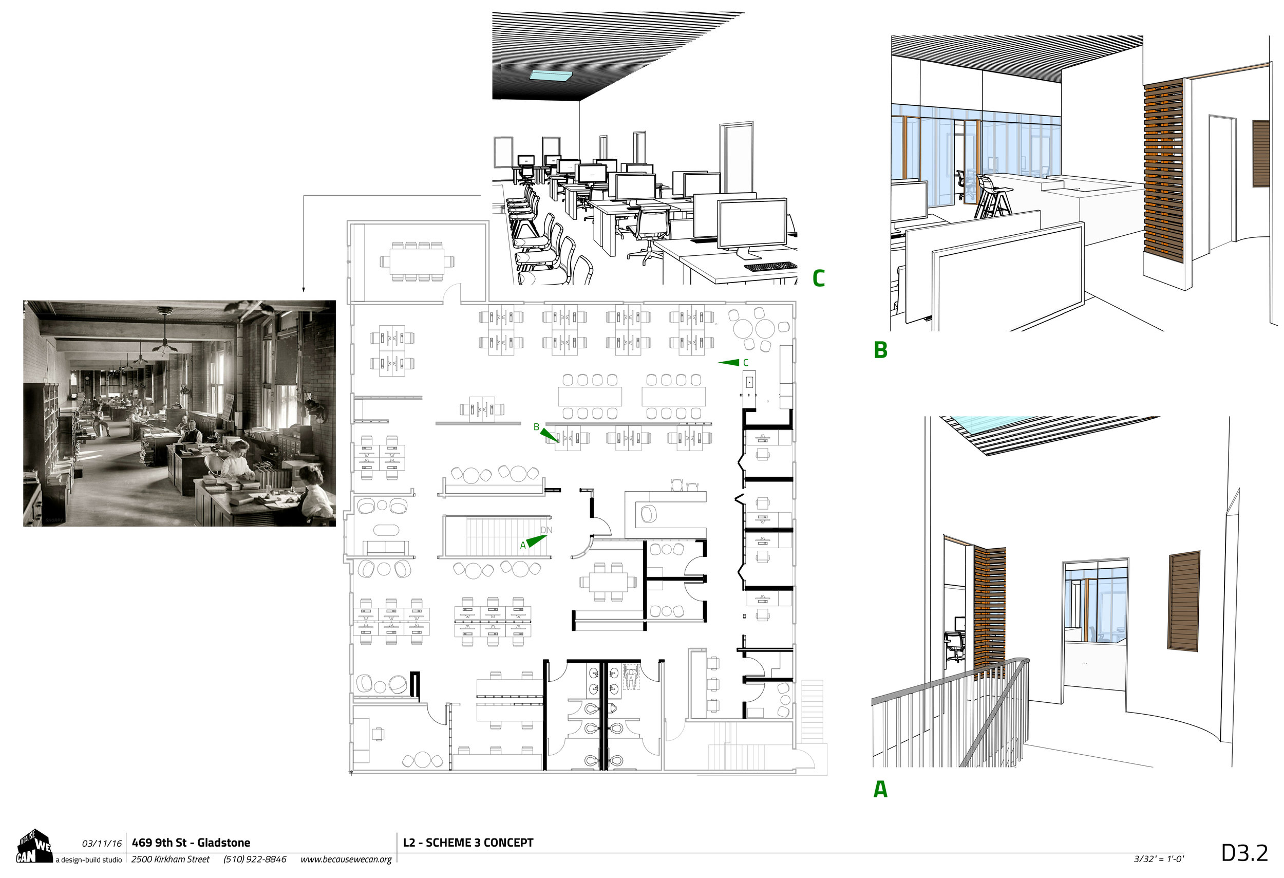The run down interiors were in desperate need of an update. We worked with the client on how to use what was there to keep costs affordable in this stretch of three floors tall and three buildings wide historic renovation.