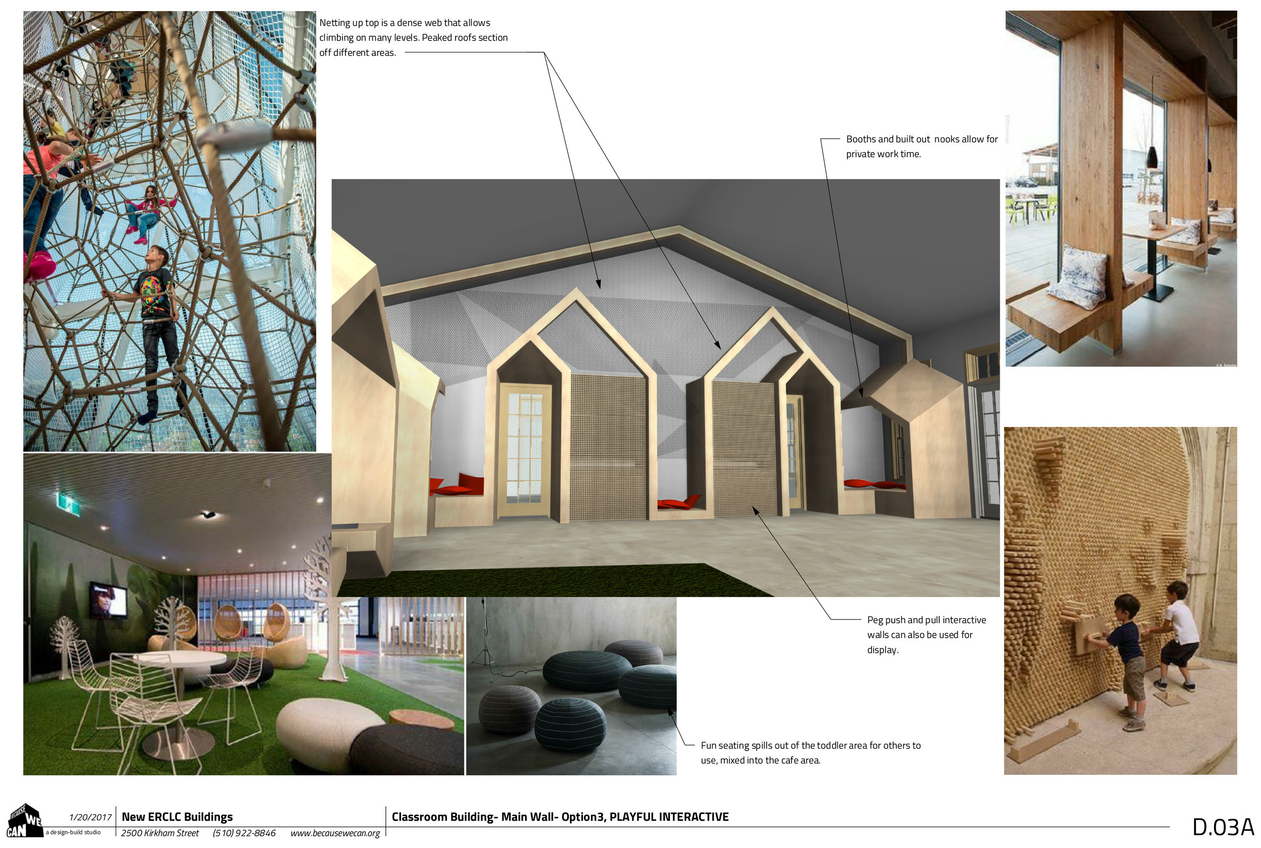 Some early design ideas for the parent lounge building, keeping the kids and younger siblings entertained while they wait.