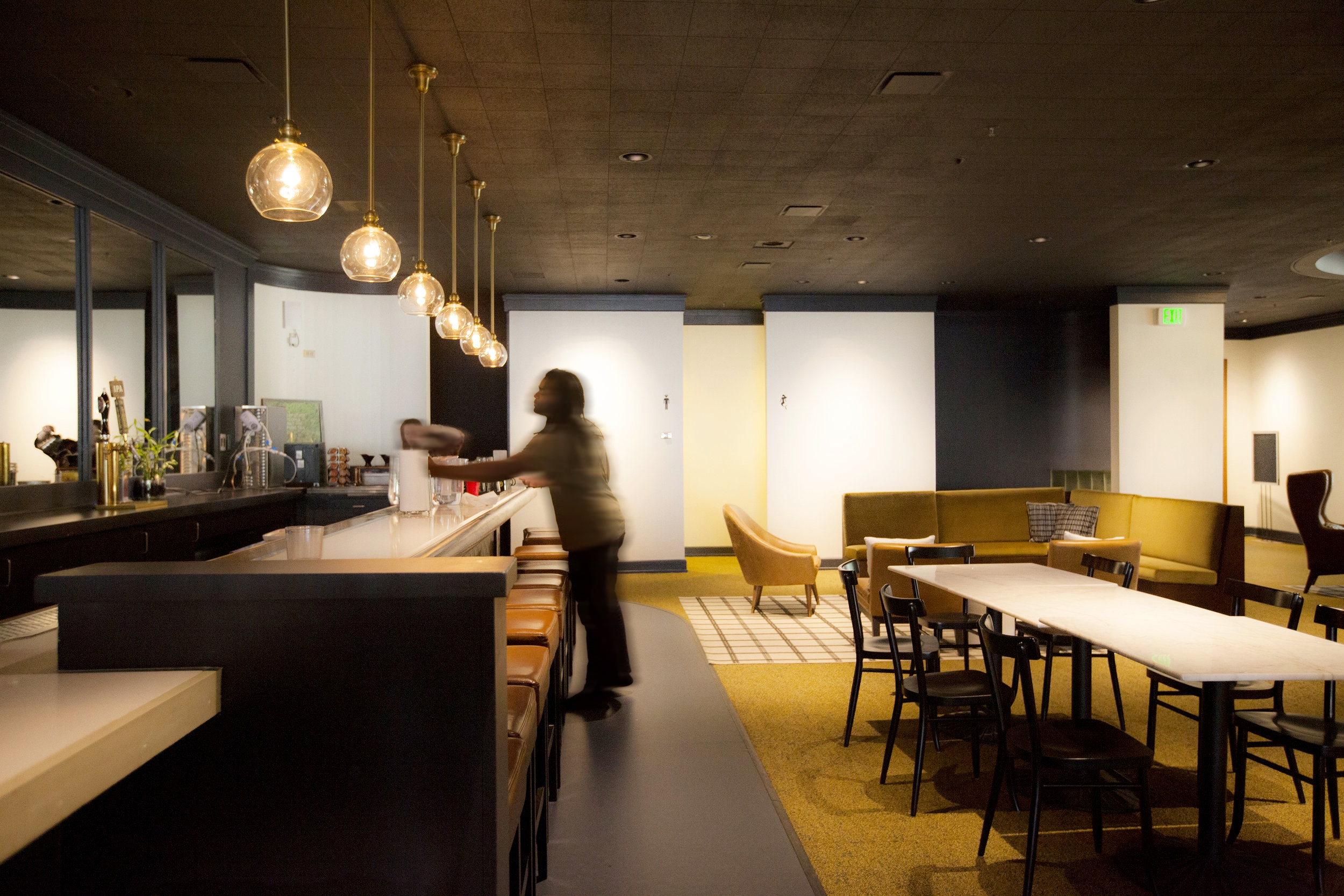 The second floor bar is a place to meet in and chat in the Co-Working space, or just to grab a snack and some coffee.