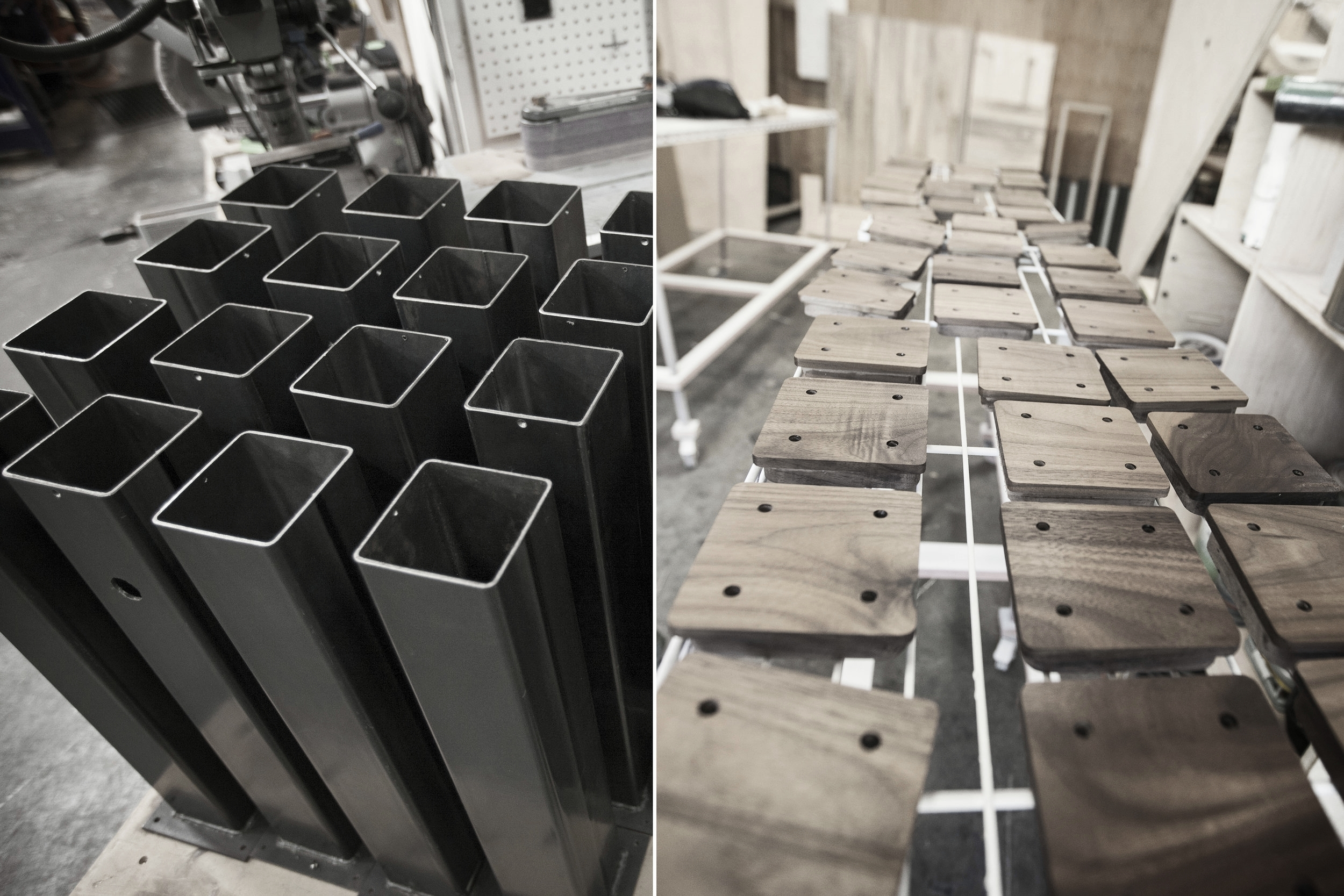 Table legs parts ready for assembly at our in-house shop.