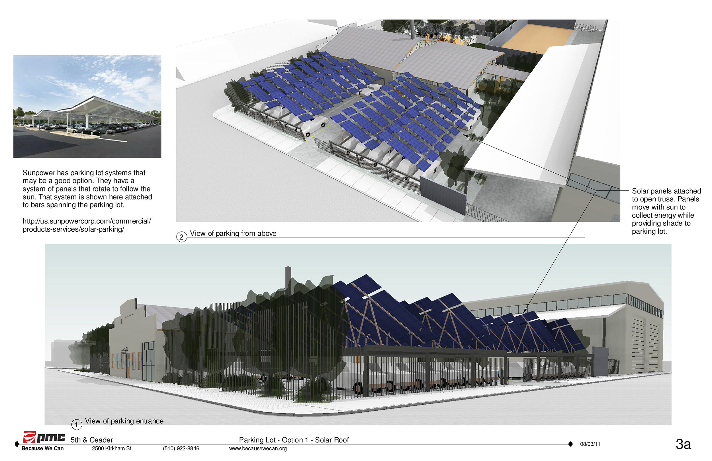 The large parking lot out front is covered in solar panels doubling as shade structures. The panels are easily enough to power all the night time lights for the parking as well as much of the power for the office building.