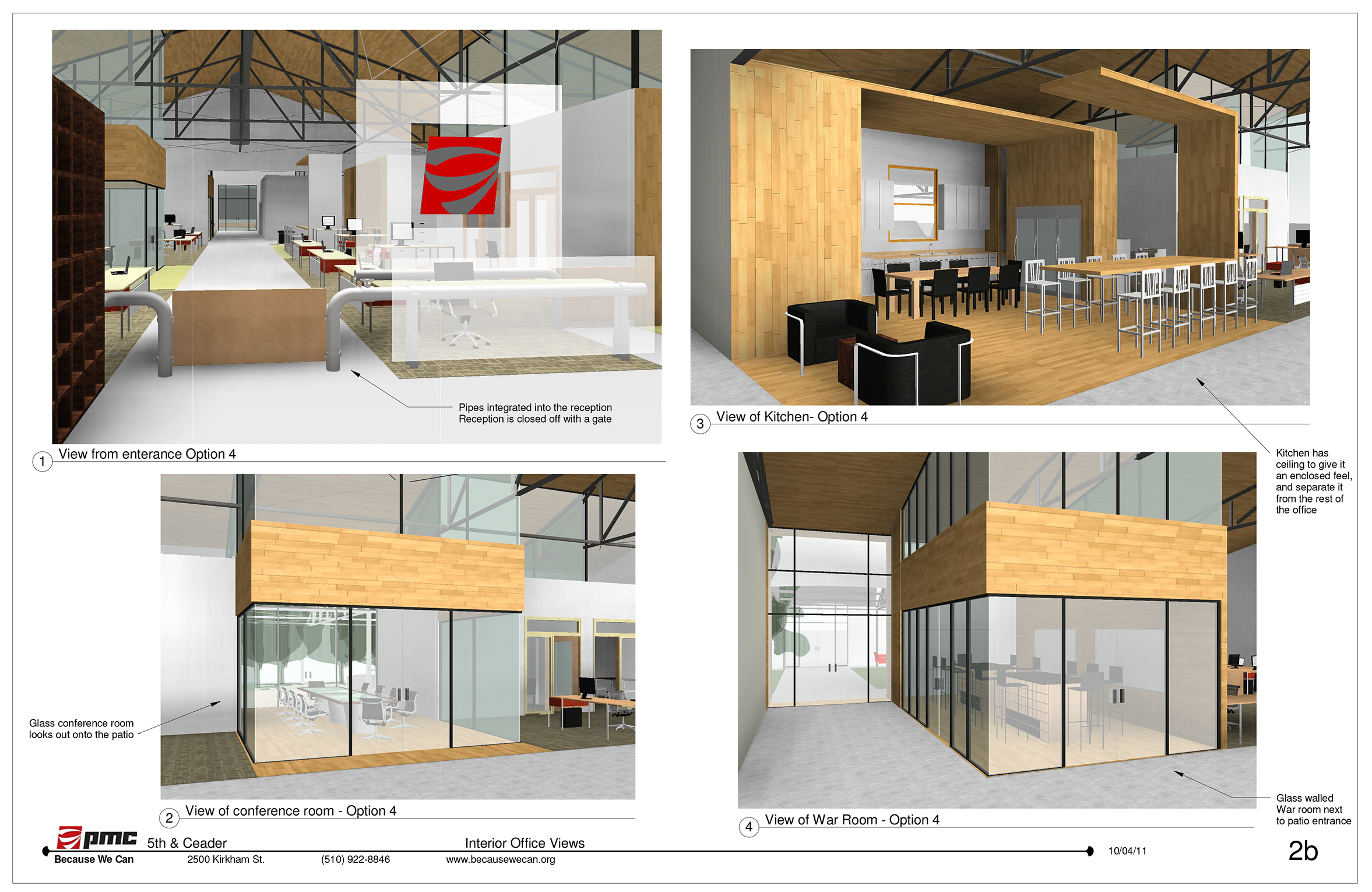 These interior office views show various collaborative work areas. A small, tight knit team operates this company. The need to have many kinds of meeting areas with and without clients is addressed in this layout.