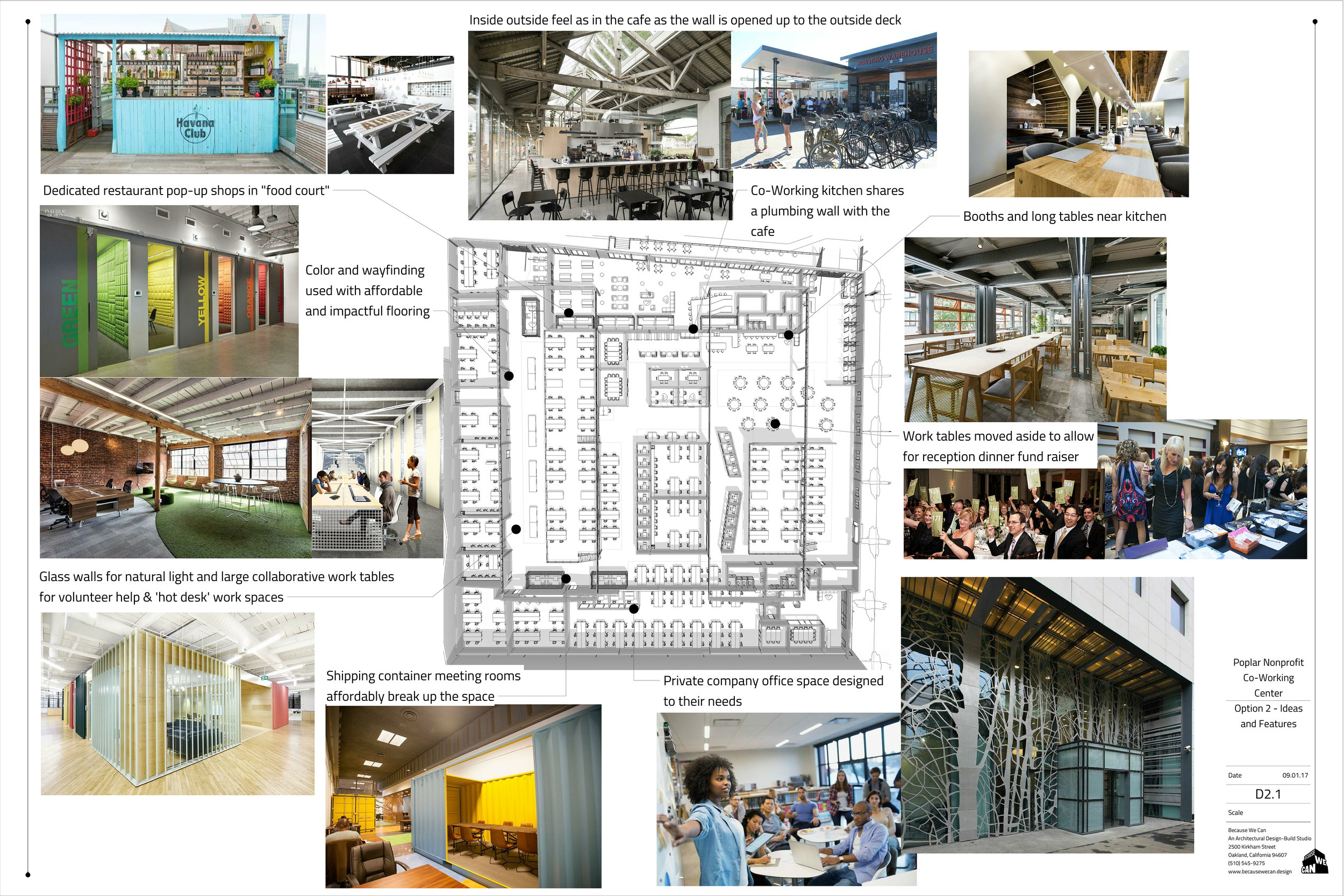 Floor plans and concept images to show a co-working office idea for this large industrial space.