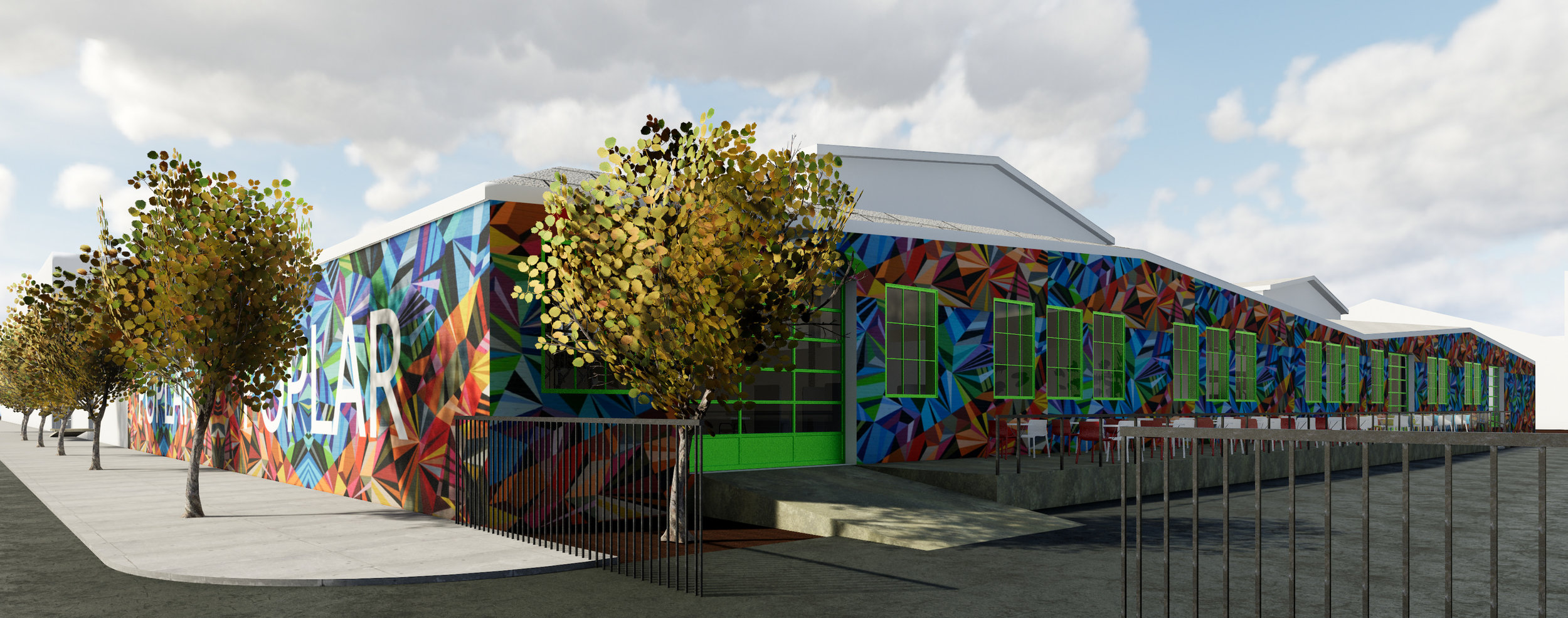 A vibrant paint scheme to show the concept of how the facade could look with a full wall mural.