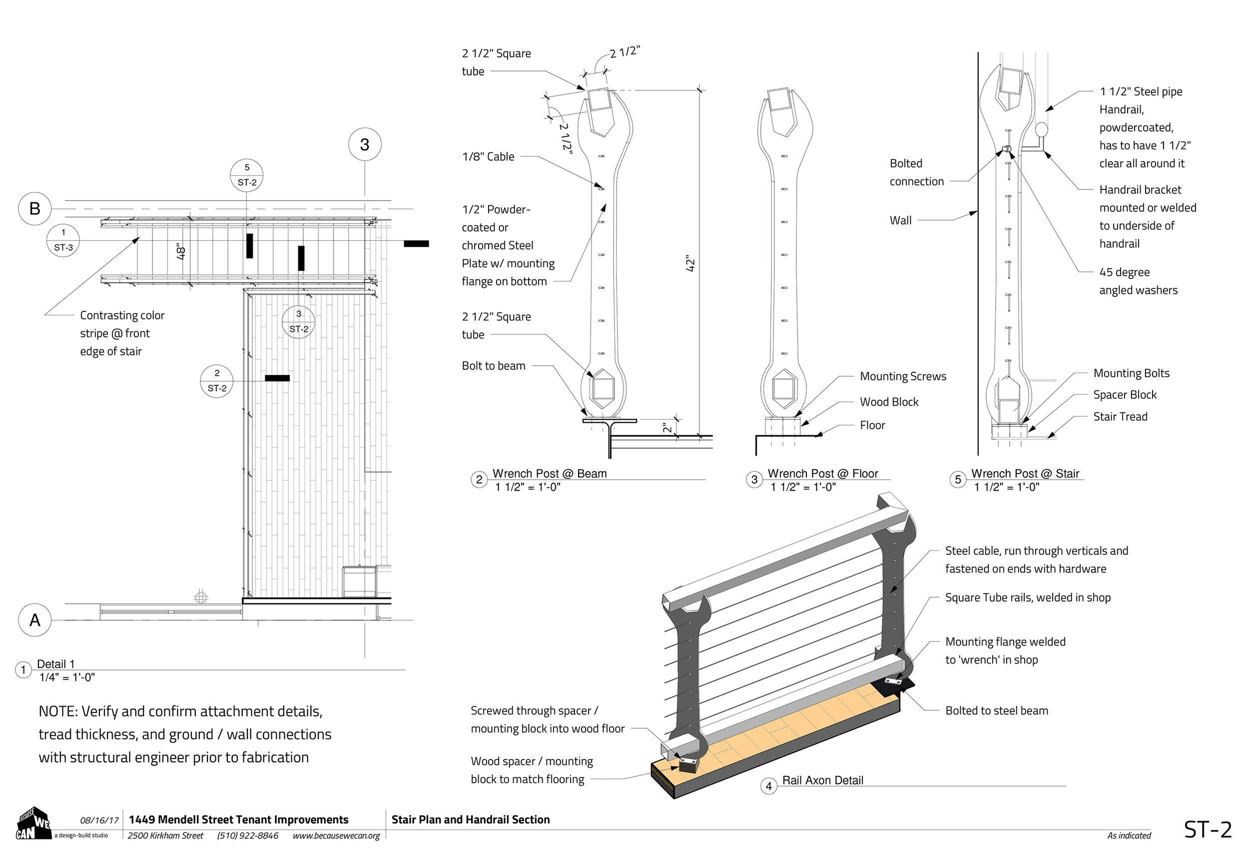 In conjunction with the architectural drawings for converting this historic building in San Francisco into a woking auto shop for the Project Wreckless program, we helped design and fabricate these wrench railing details.