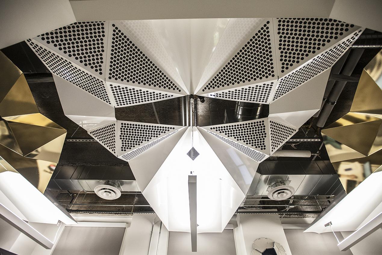 Stunning symmetrical ceiling art for a growing Oakland start-up.