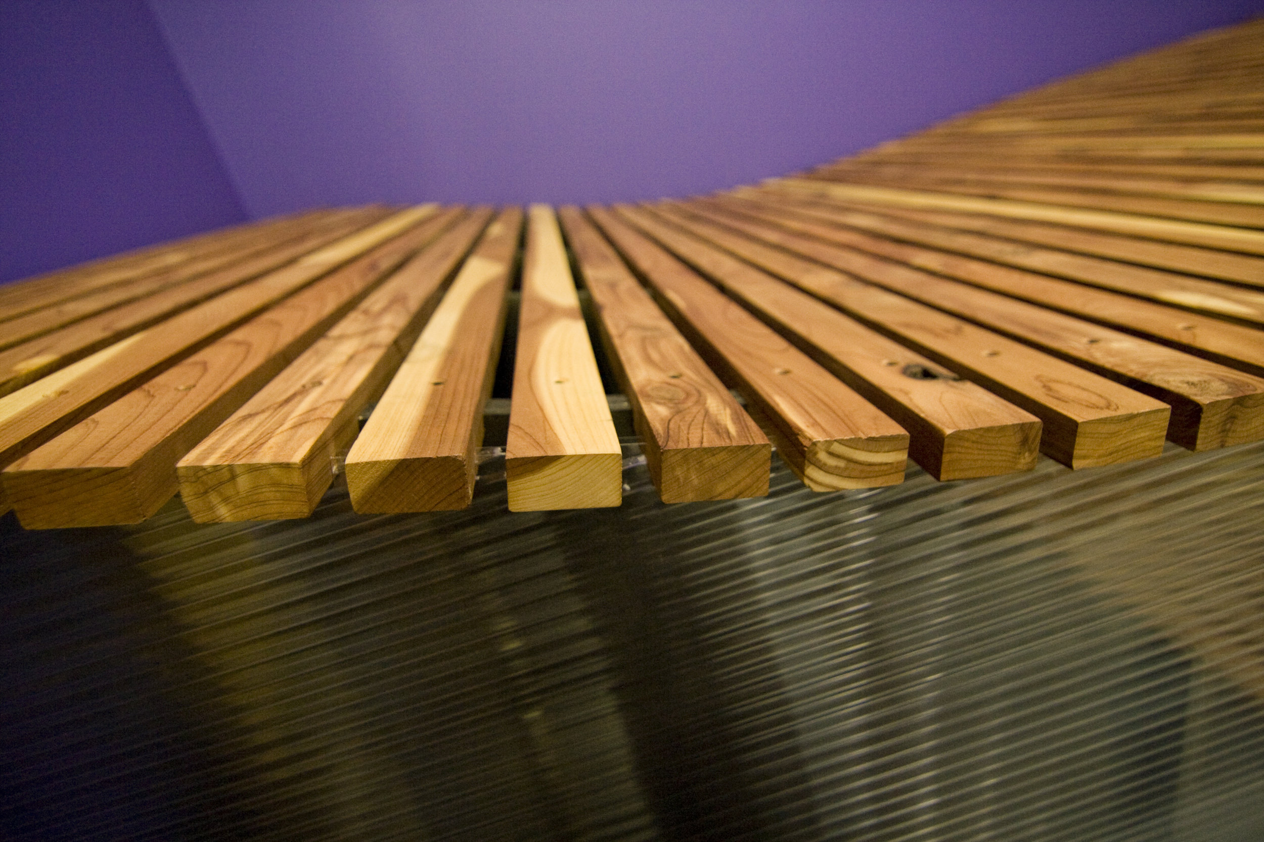 The cedar slats perfectly lined up with some grain matching.
