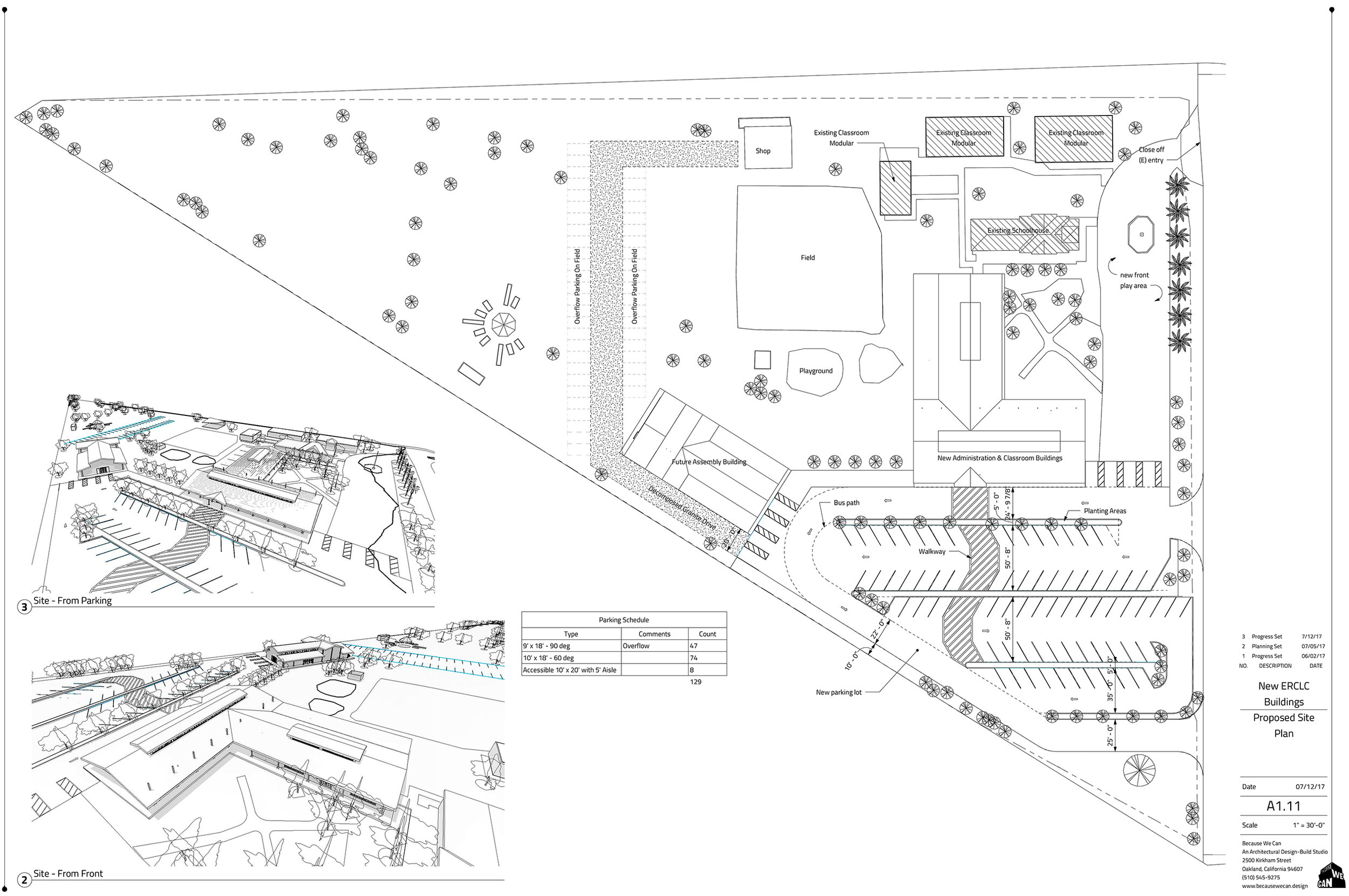 The site plan in its final configuration, a large lot with many uses and difficult areas. We paid particular attention to not over shasowing the original historic building, while creating a highly functional site plan.