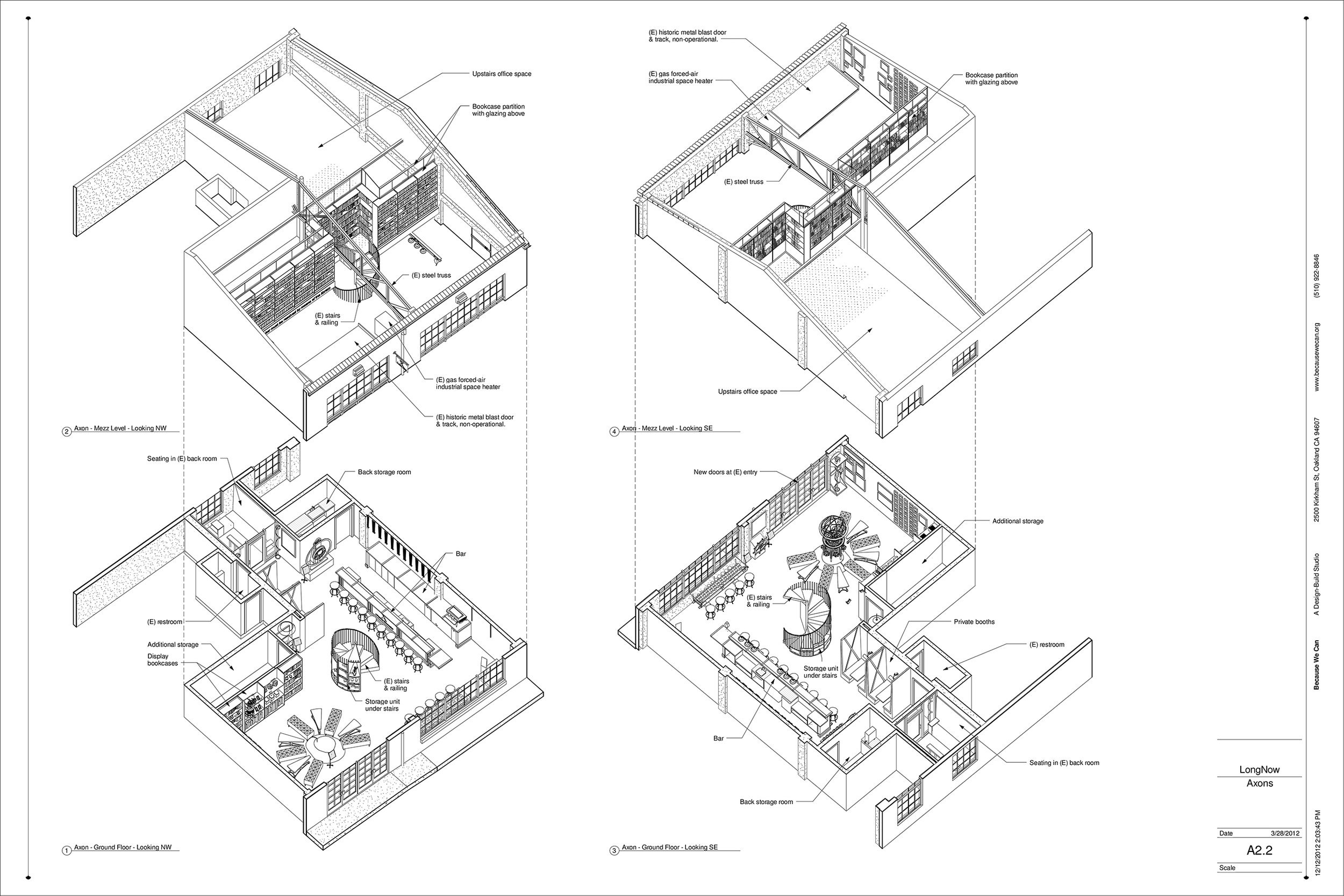 From our Architectural set for construction, these plans show the two floor construction of the interior and how all the elements will be arranged.