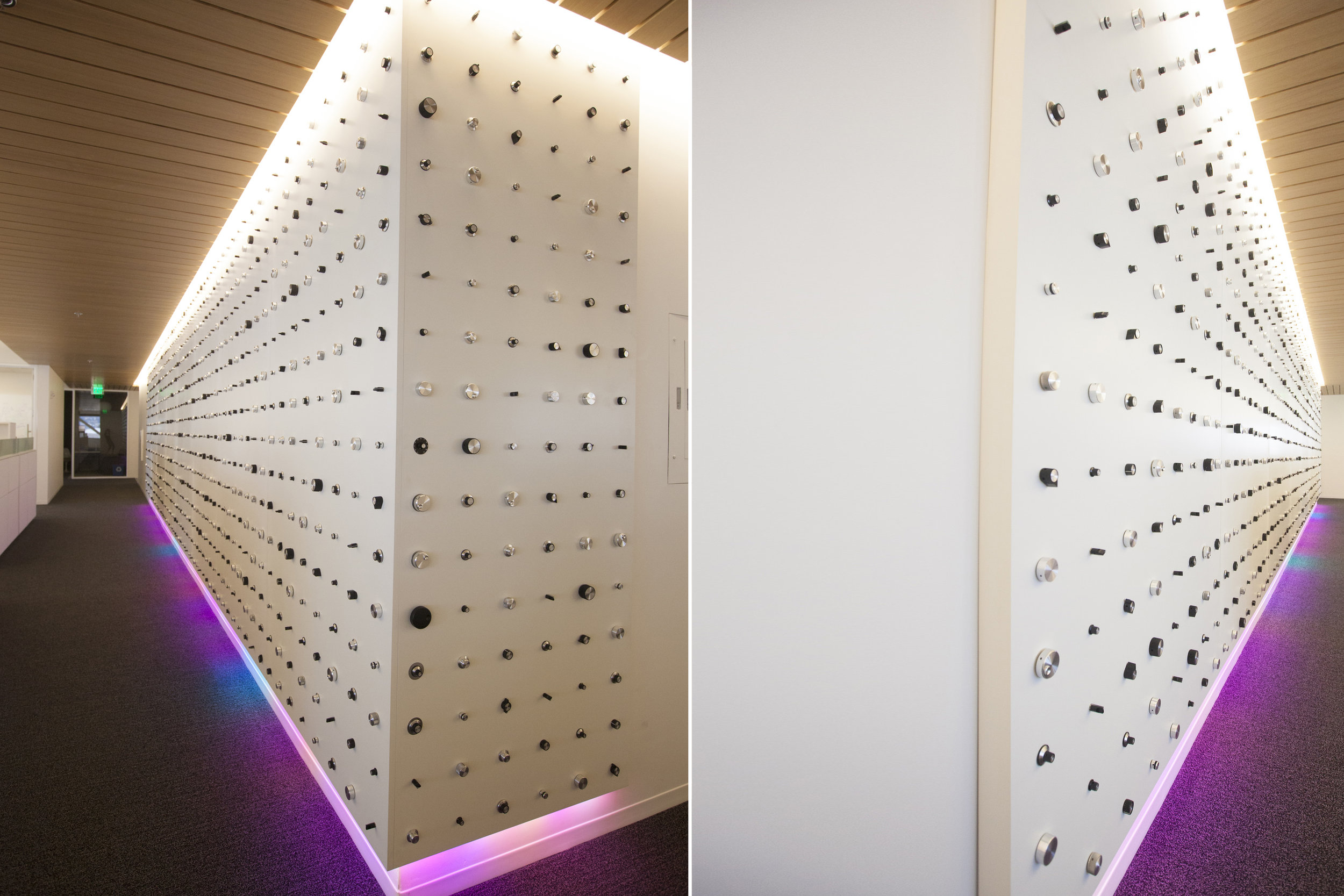 Rounding the corner, the LEDs on the bottom are controlled by select knobs that control multiple functions. The LEDs control is wirelessly accessible to be hacked and modified by the engineers that work on this floor of the Dolby headquarters.