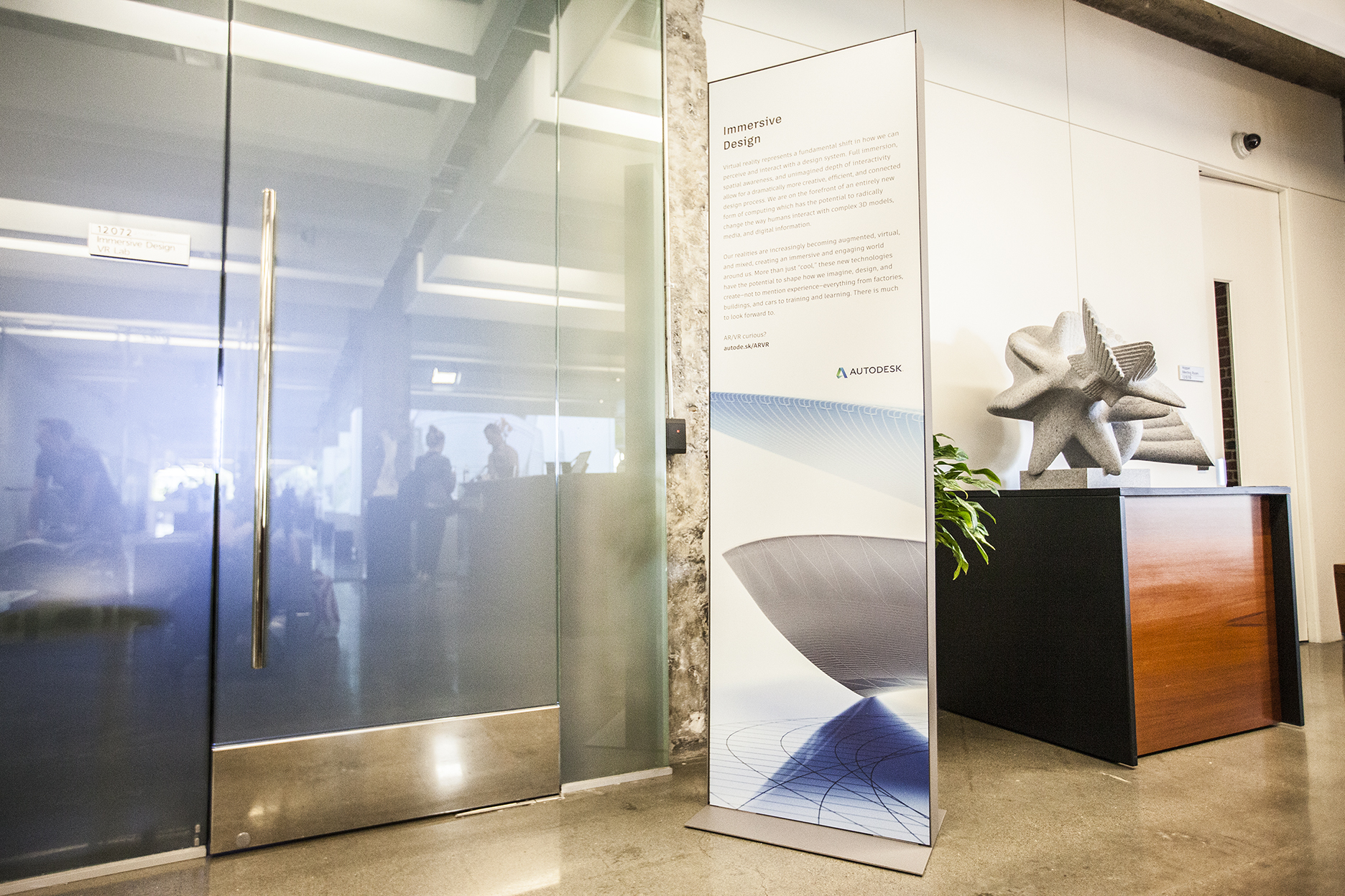 In their final location in and outside the gallery, the signage has a clean, unobtrusive look.