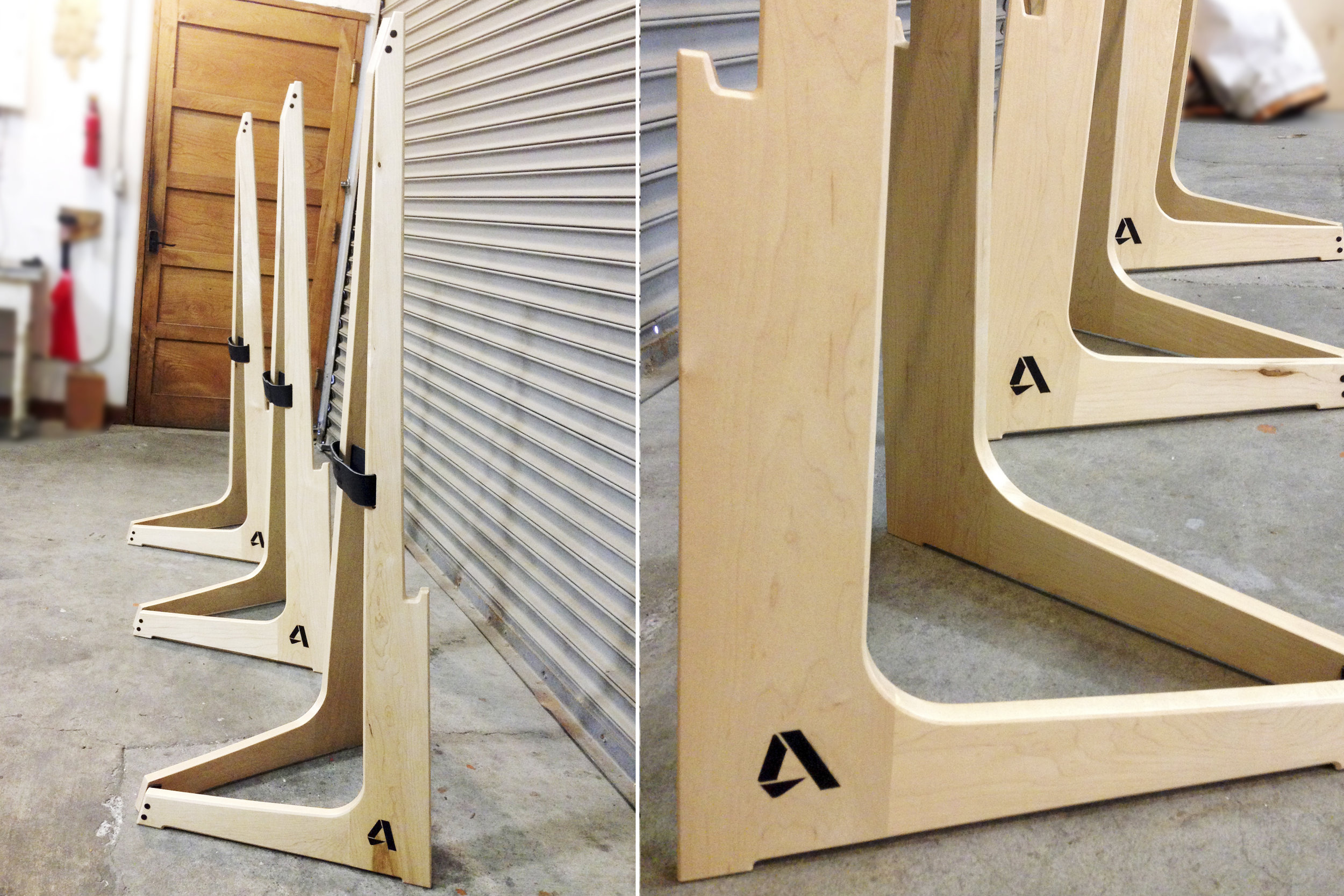 A row of easels made for the Autodesk Gallery & special events. These hardwood pieces are durable, light and very unique with their leather hinge, joinery details and resin logo inlay.