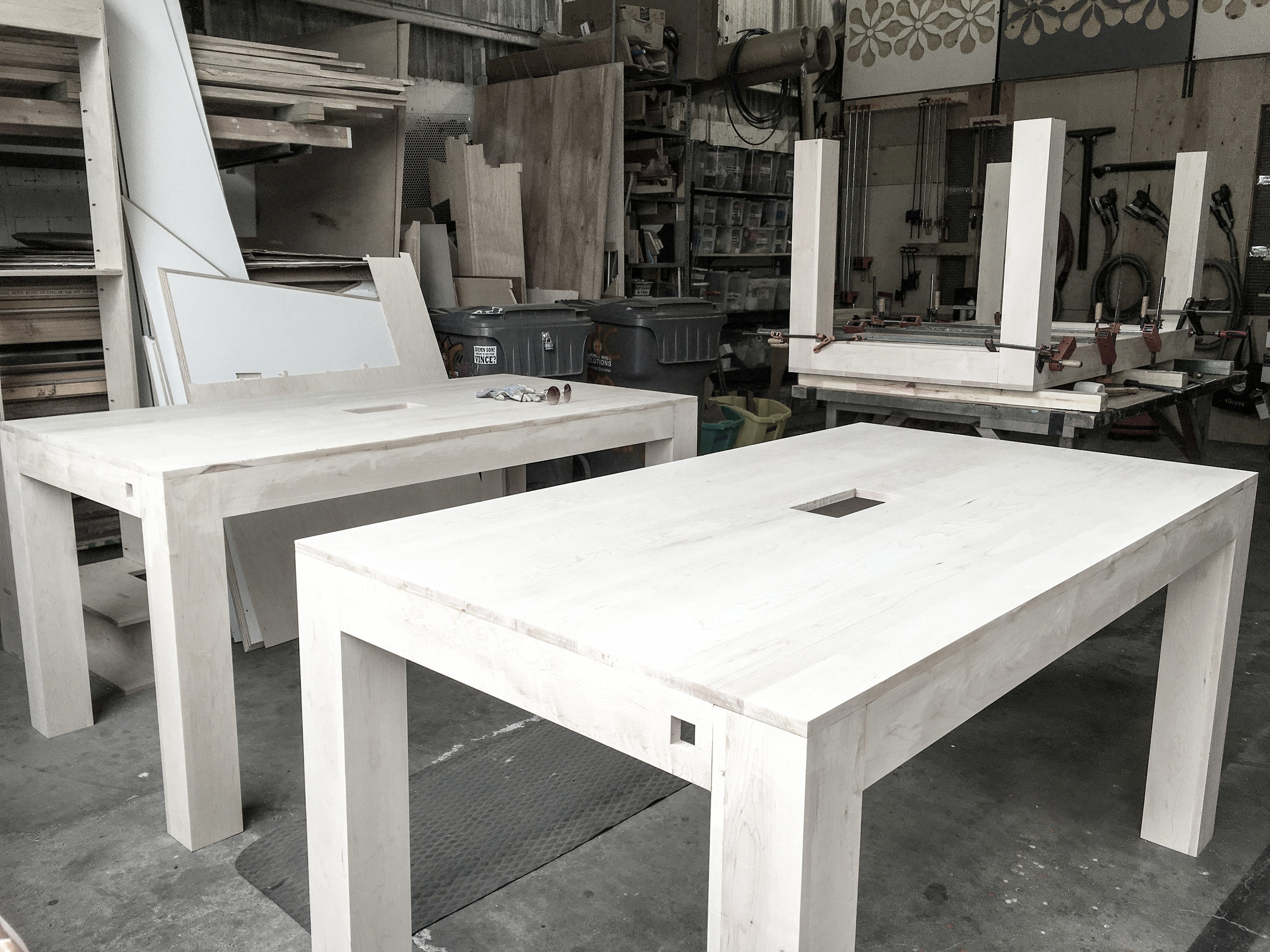 Almost ready to go! The tables get their final fabrication details and staging to get ready for finishing.