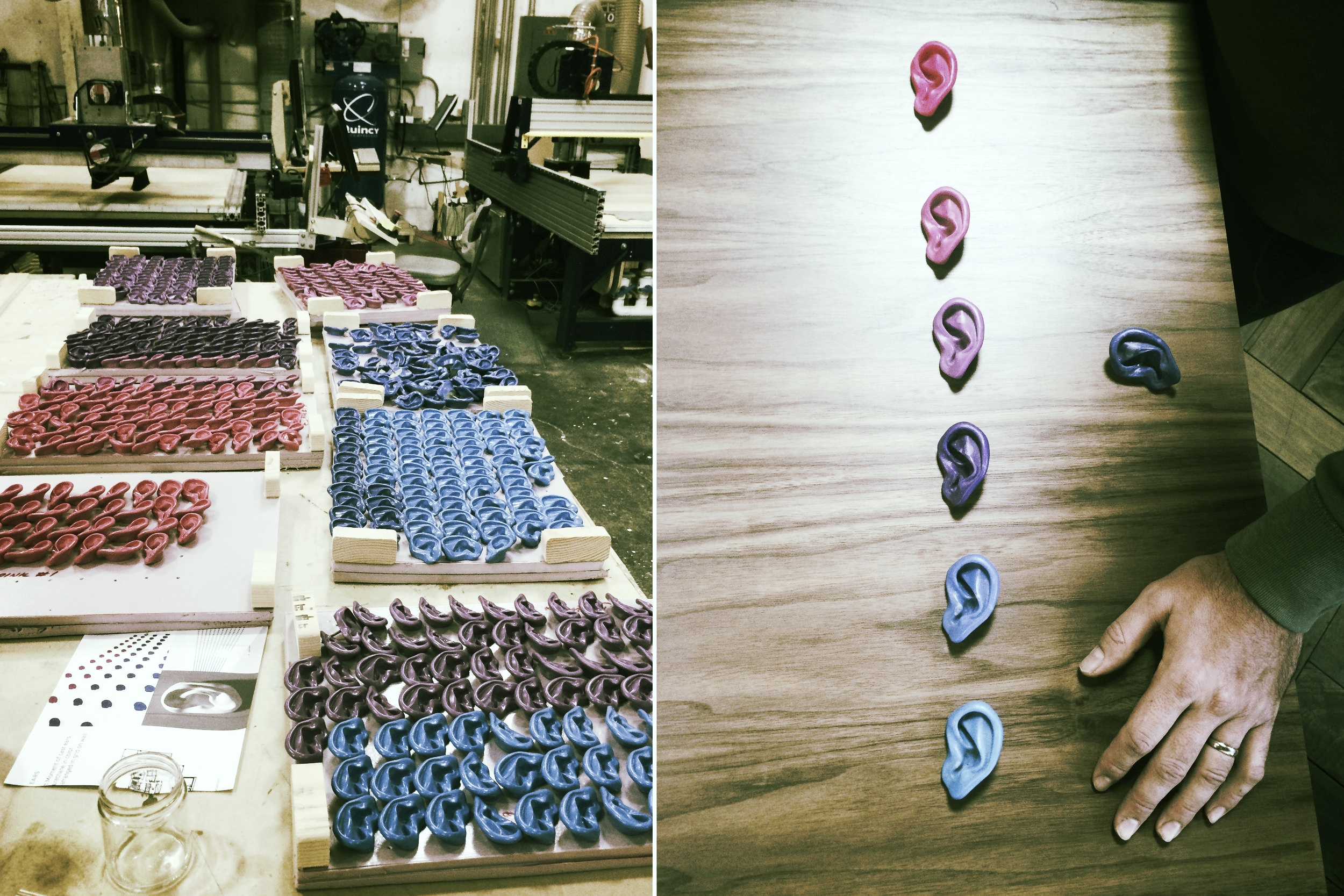 Choosing the ear layout and color gradient at our fabrcation shop.