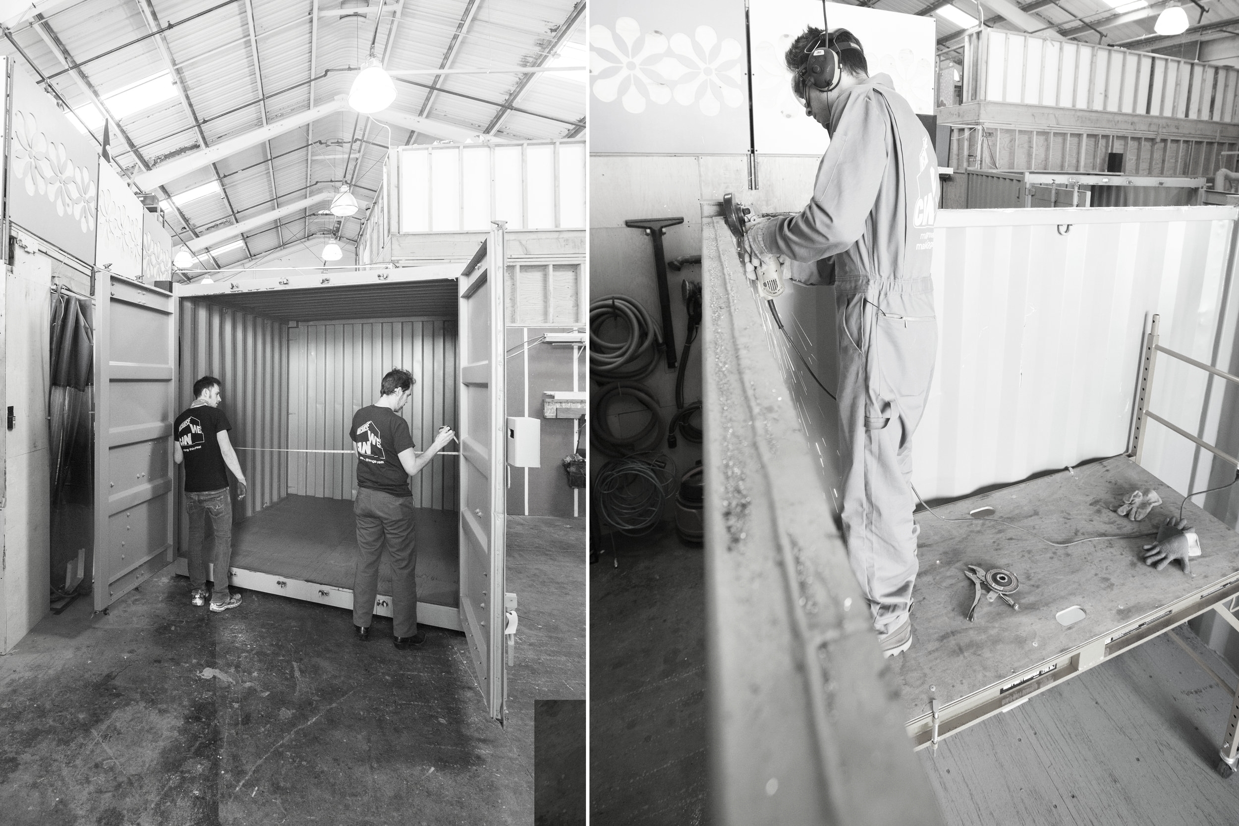 Once we received the containers at our fabrication shop, detail measurements were taken and the modifications began.