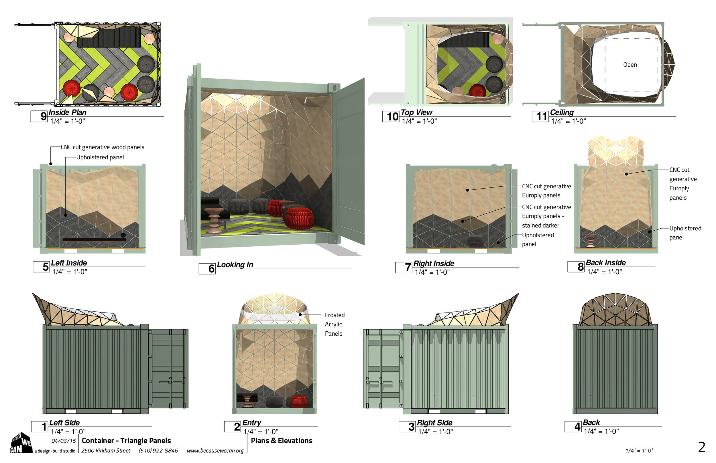Schematic drawings for client review for the CNC cut generative Europly panels design.