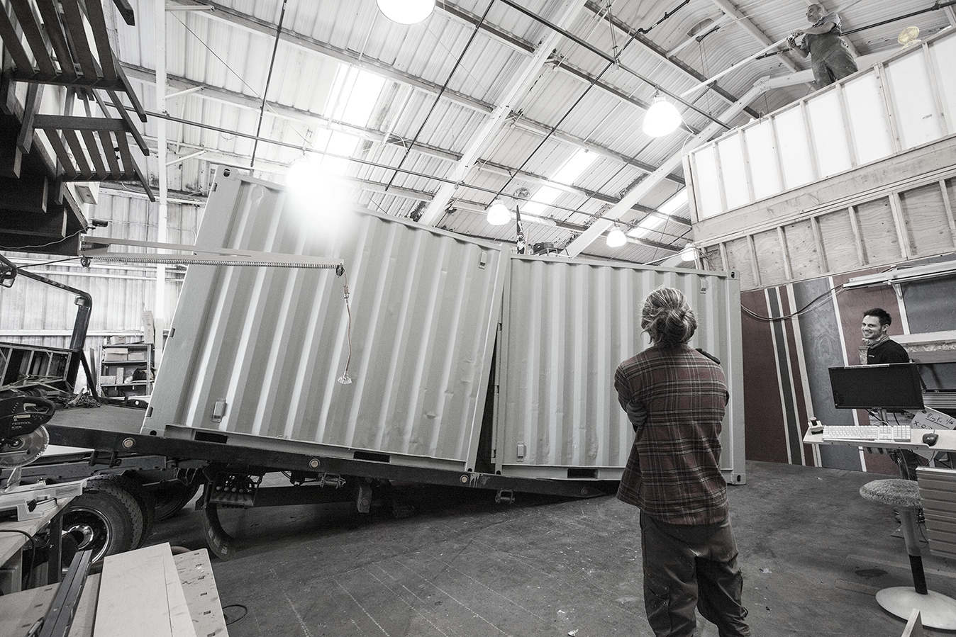 The containers arrive at our fabrication shop, ready for modification.