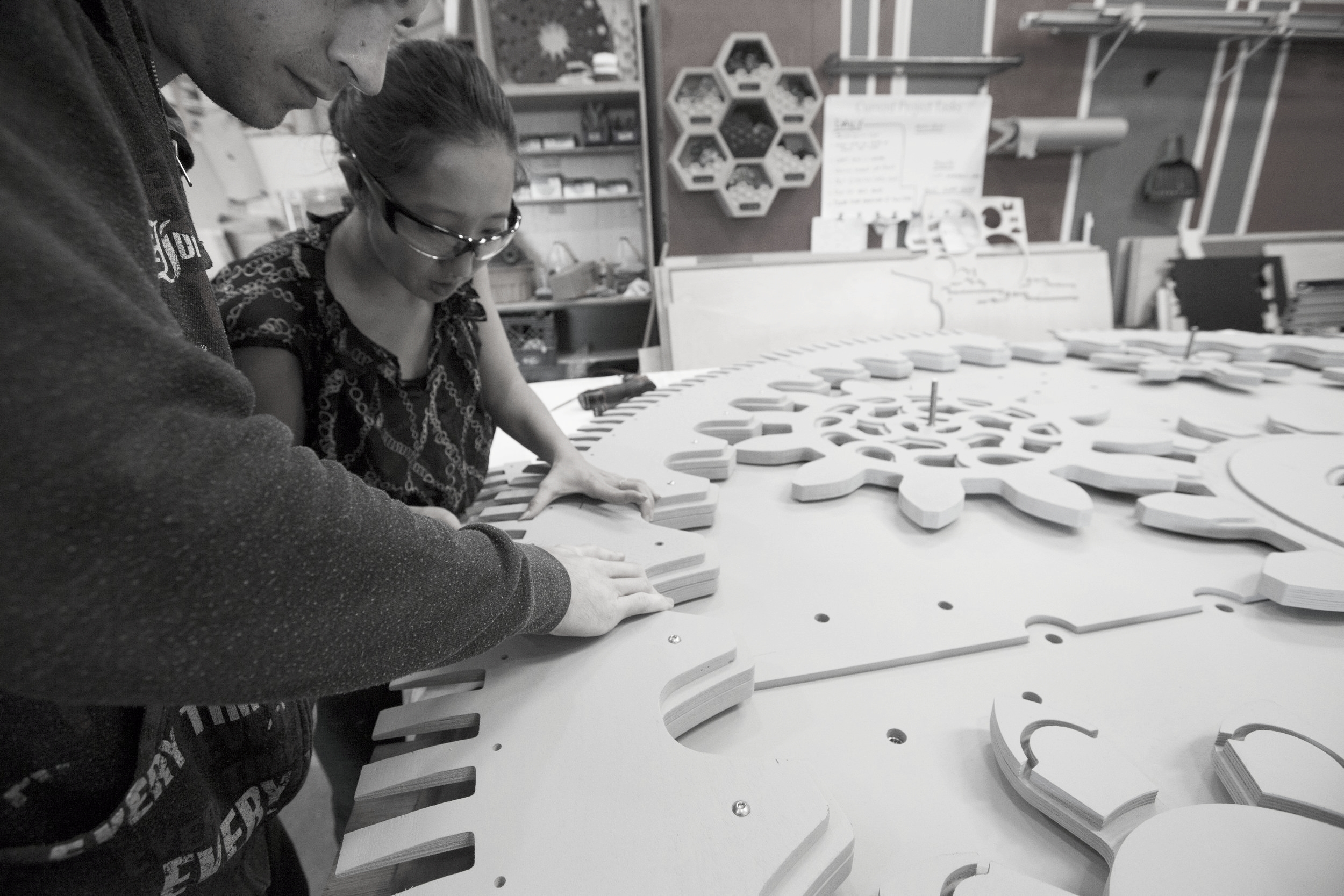 Our fabricator & designer working hand-in-hand to complete the custom furniture on time.