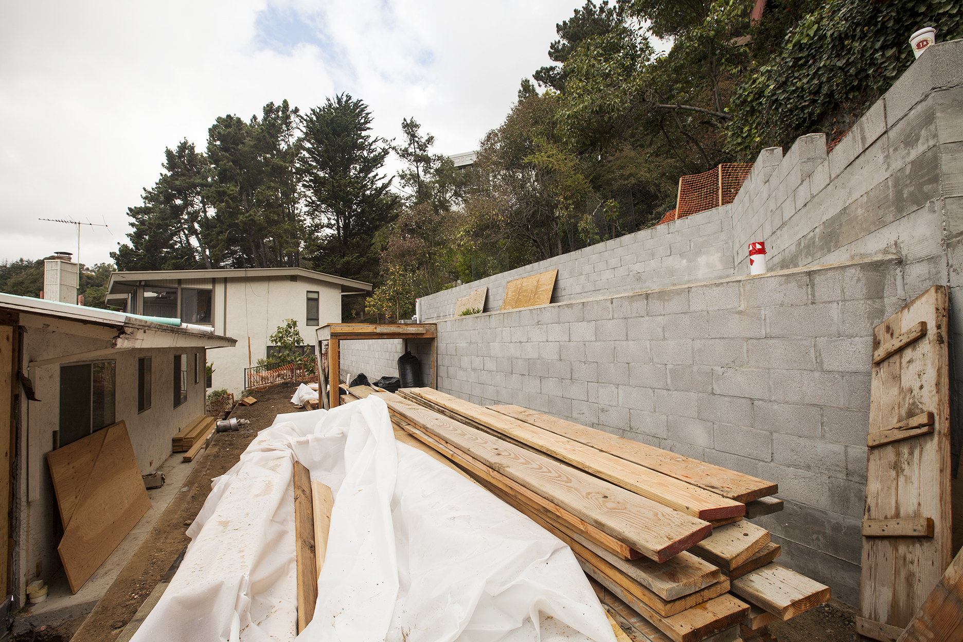 Major terracing begins in the back yard, a once dramatic upward slope.