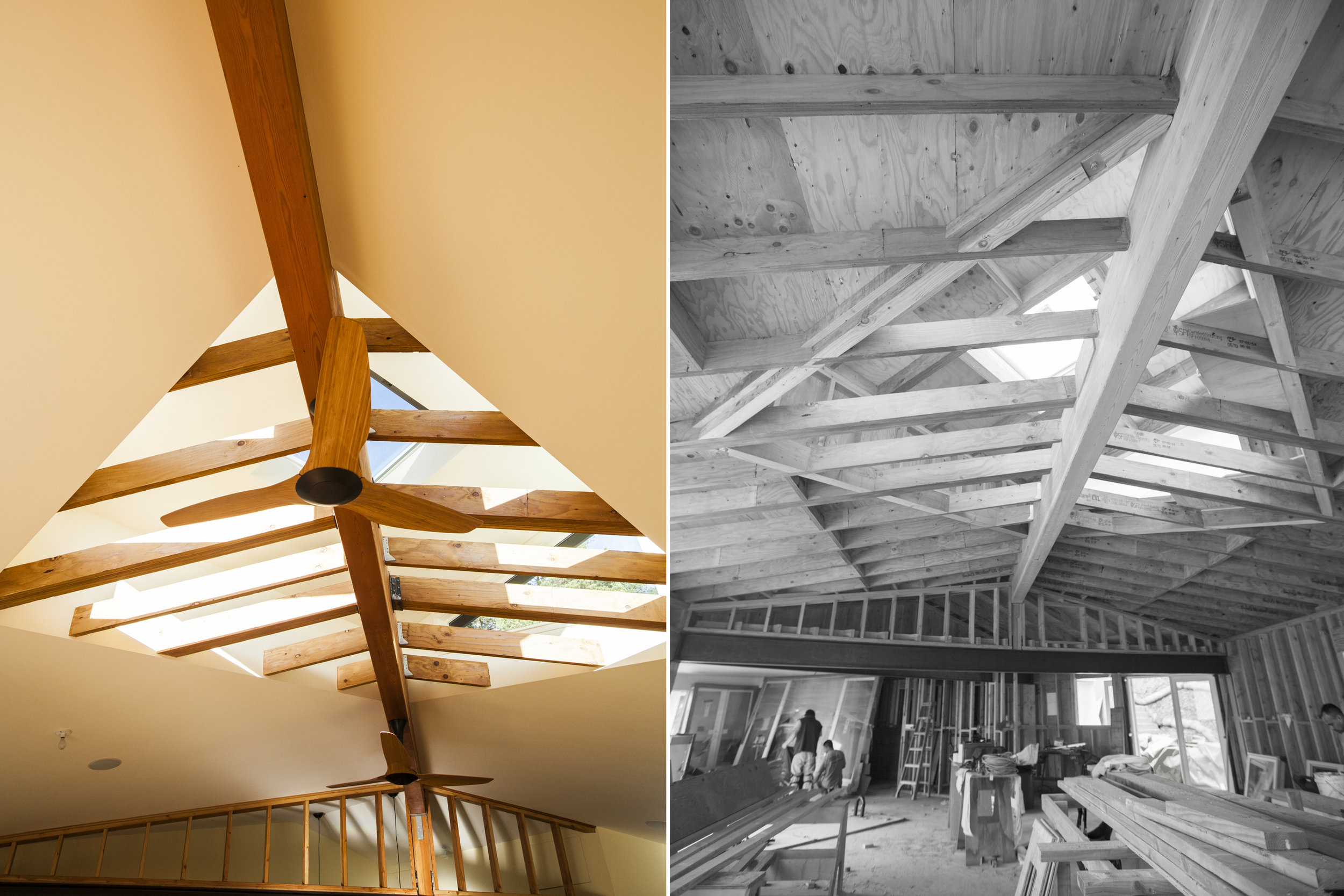 The exposed ceiling beams add interest to the interior.