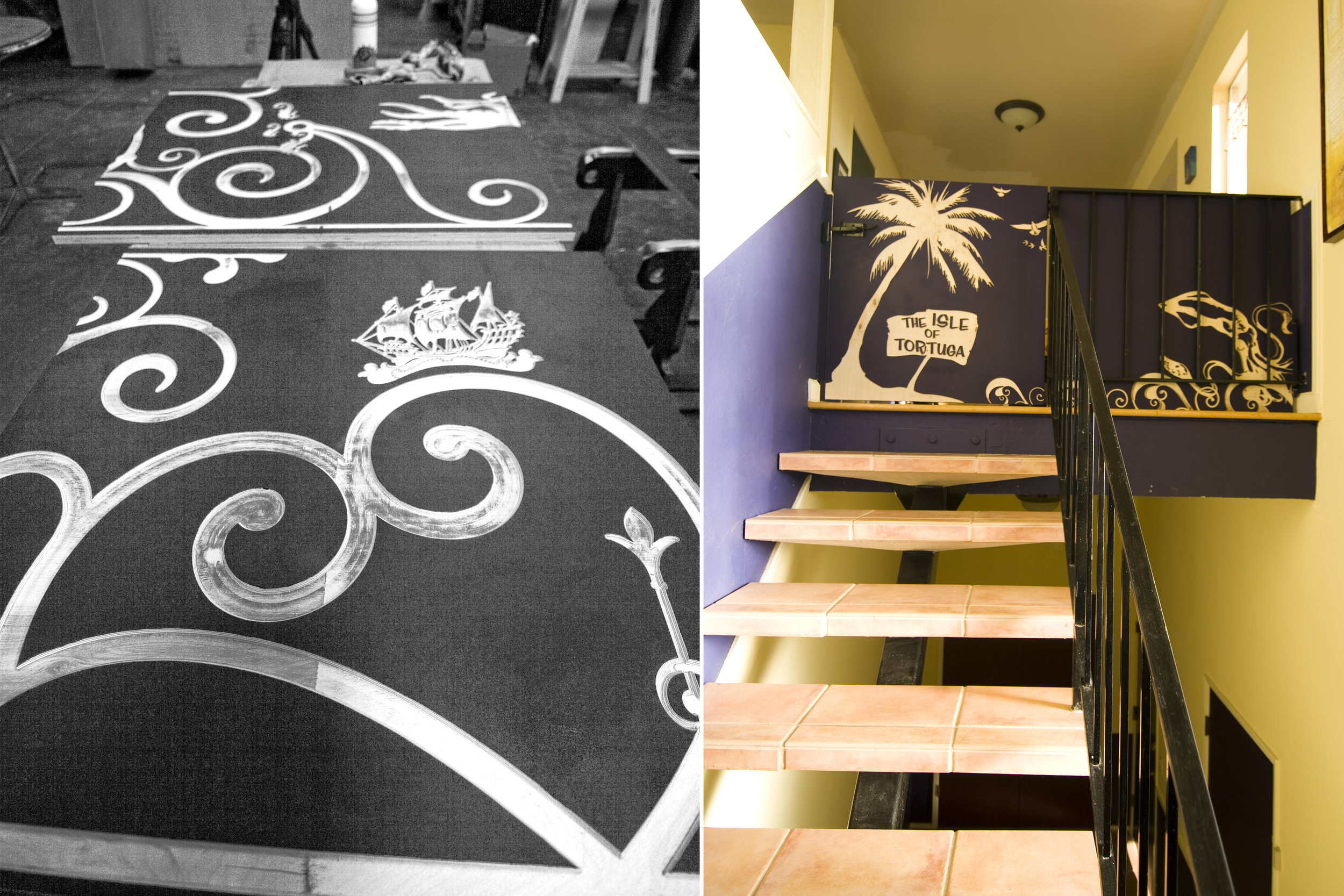 Looking up the stairs, the decorative carvings are referencing the clients passions and the new gate is protecting small children from those open stairs.