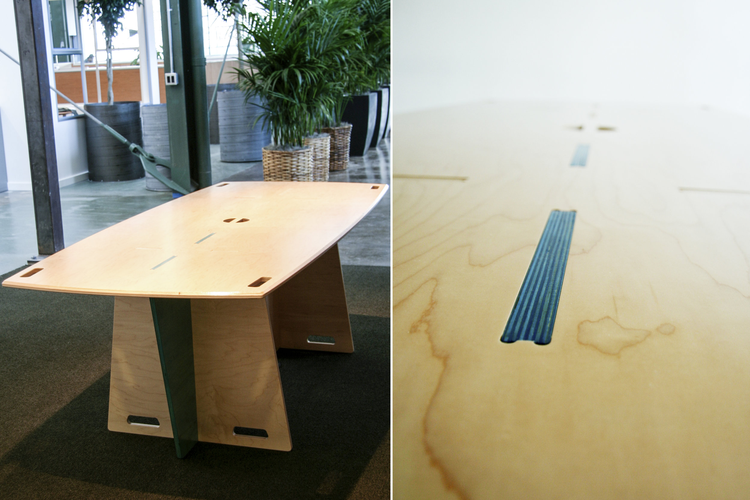 These large flat-pack tables are also set up as meeting tables for the executives.