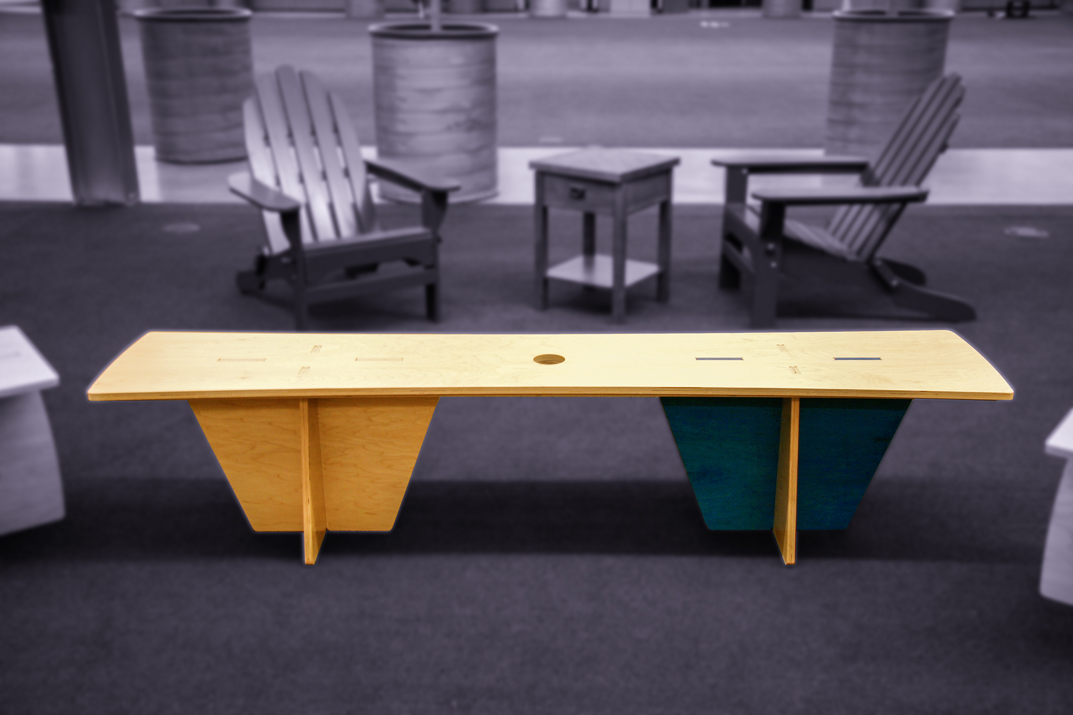 Two different bench designs propagate the office to complement the tables.