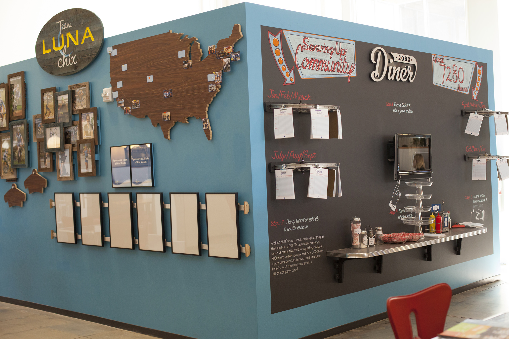 The Luna Chix wall shared a corner with  another interior promotional wall we helped create for Clif Bar.
