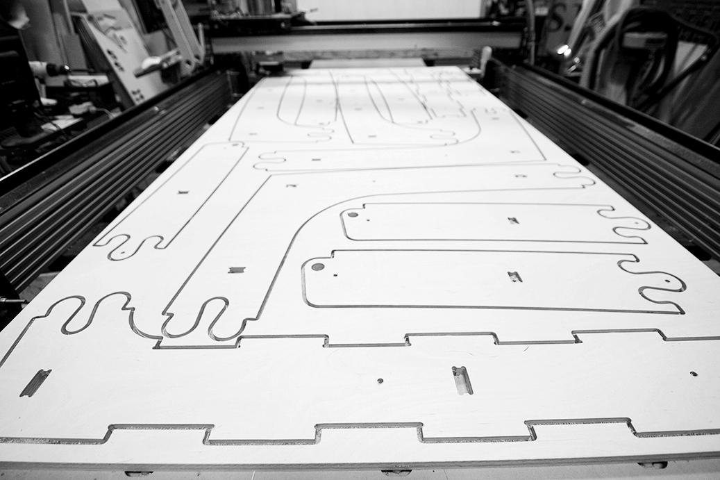 Parts are cut on the CNC machines in our shop, allowing us to have full control of the design and fabrication.