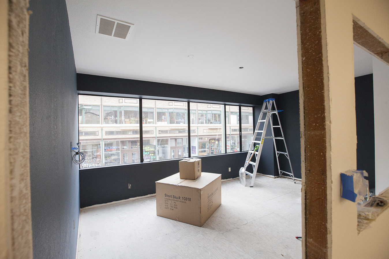 The interior offices are all getting a much needed face lift as well. A bit of paint goes a long way. Soon all the furniture and the rest of the finishes and fixtures will be in to completely transform this place.