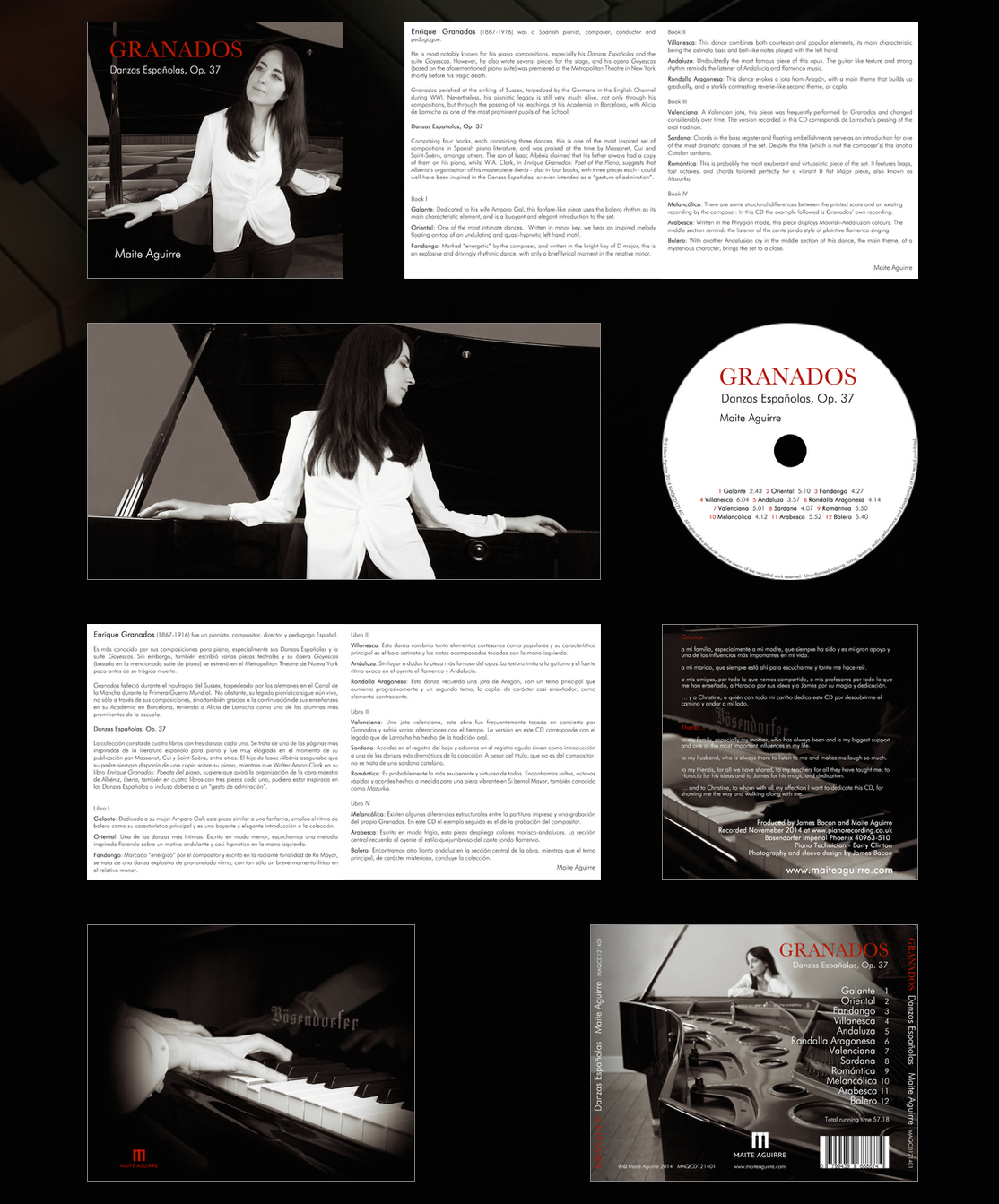 Maite Aguirre CD design, 8 page booklet, all surfaces