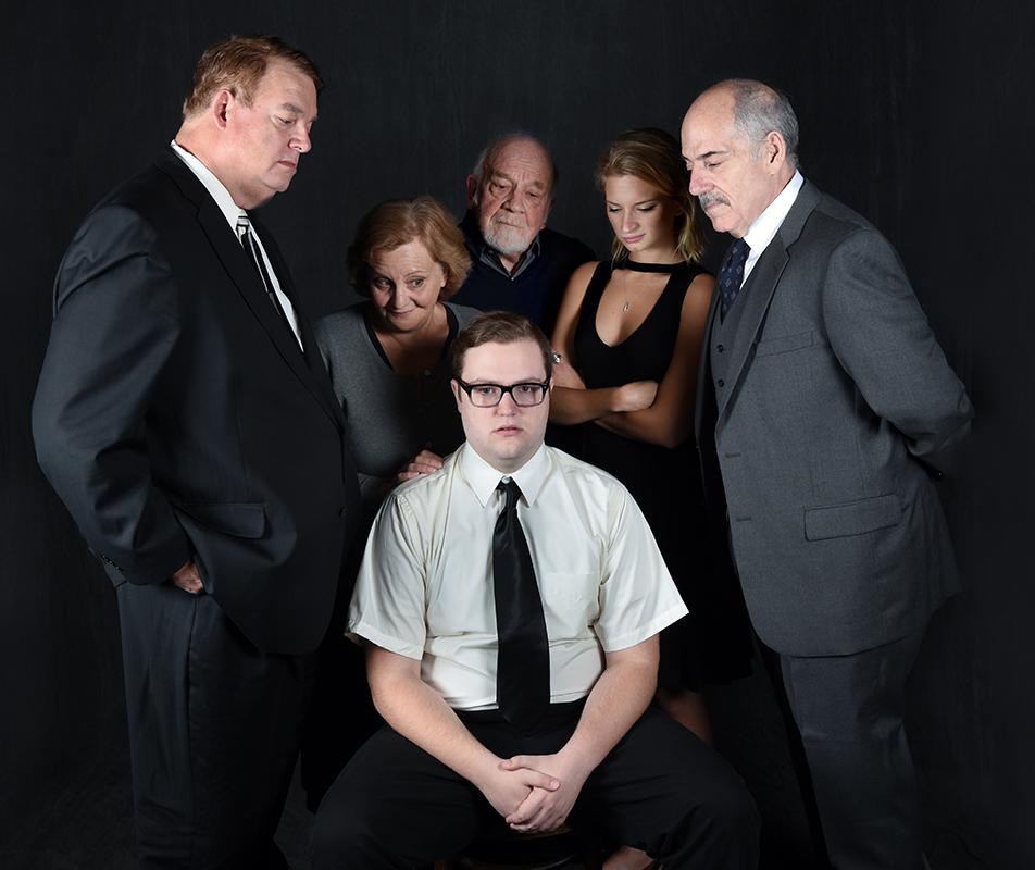 The cast of Harold Pinter's  The Birthday Party . (Left to Right: Bryon Nilsson, Eileen Schuyler, Patrick Quin, Lucy Miller, John Romeo. Center: Shayne David Cameris