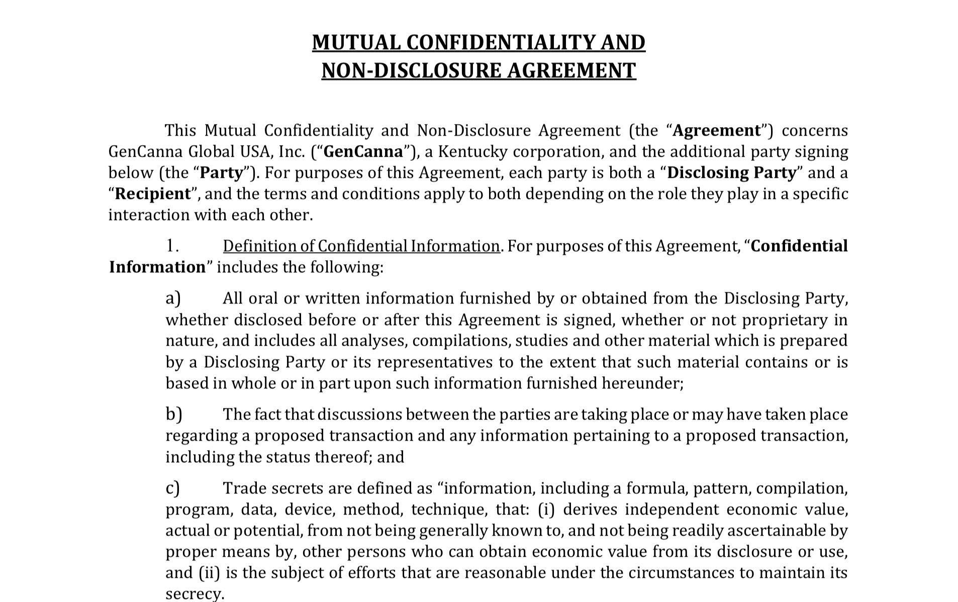Mutual confidentiality Agreement -