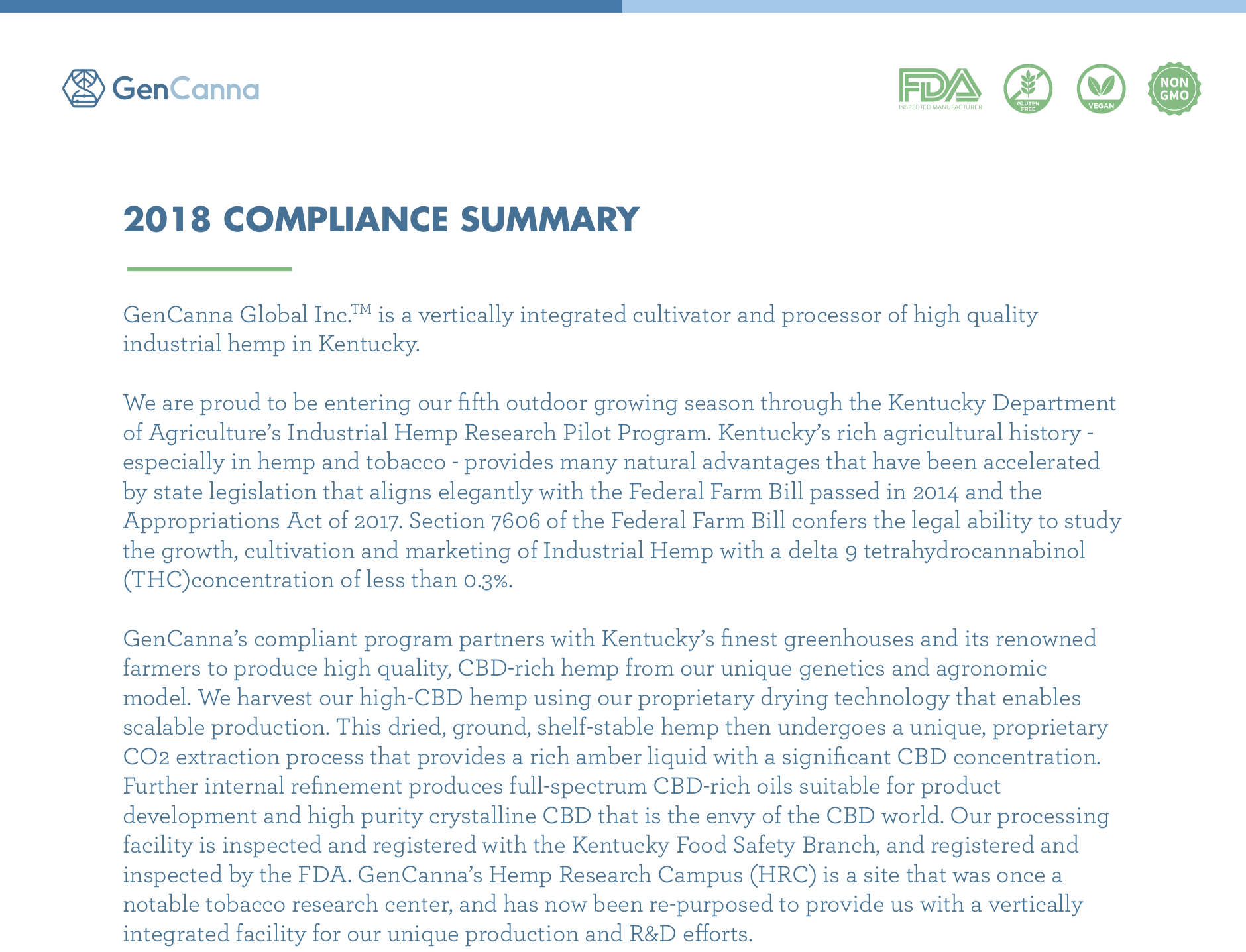 Short compliance document -
